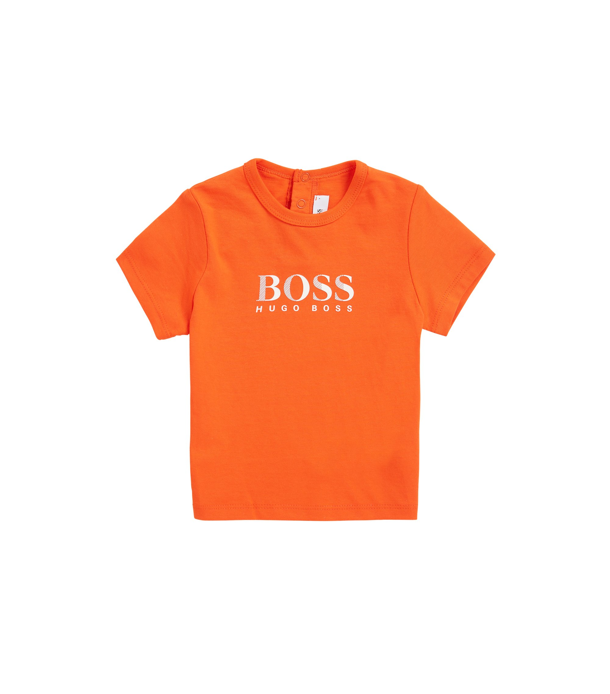 Kids-T-Shirt aus Single Jersey mit Logo-Print, Orange