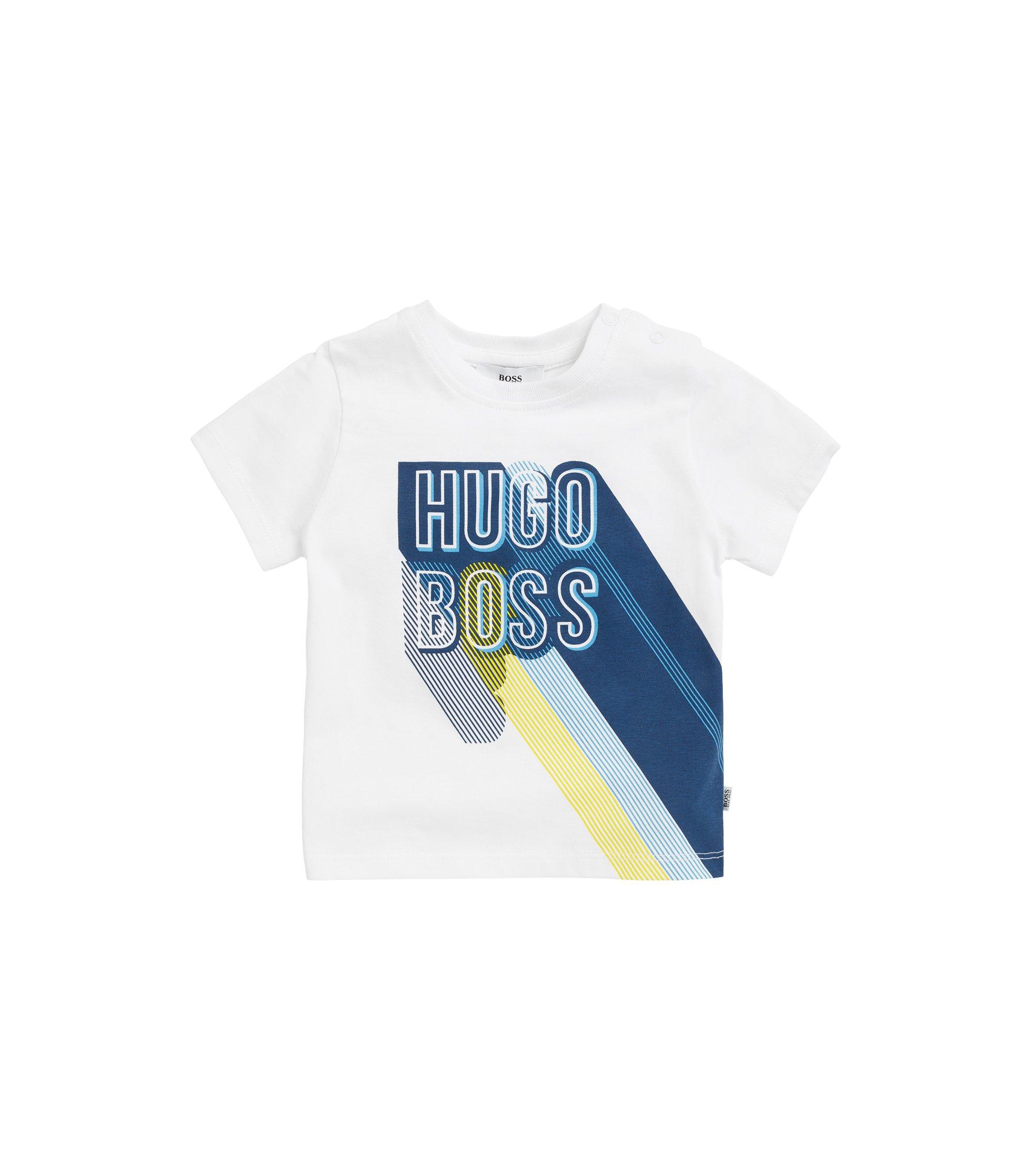 Kinder-T-shirt van bedrukte katoenen jersey met sluiting op de schouders, Wit