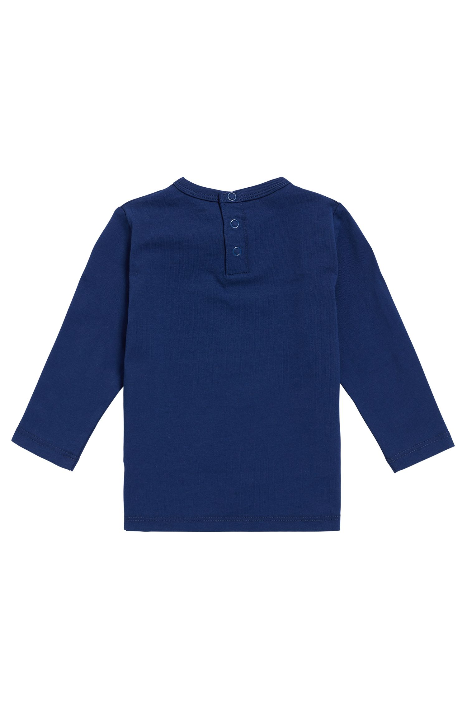 Maglietta da bambino in cotone a maniche lunghe con logo, Blu scuro