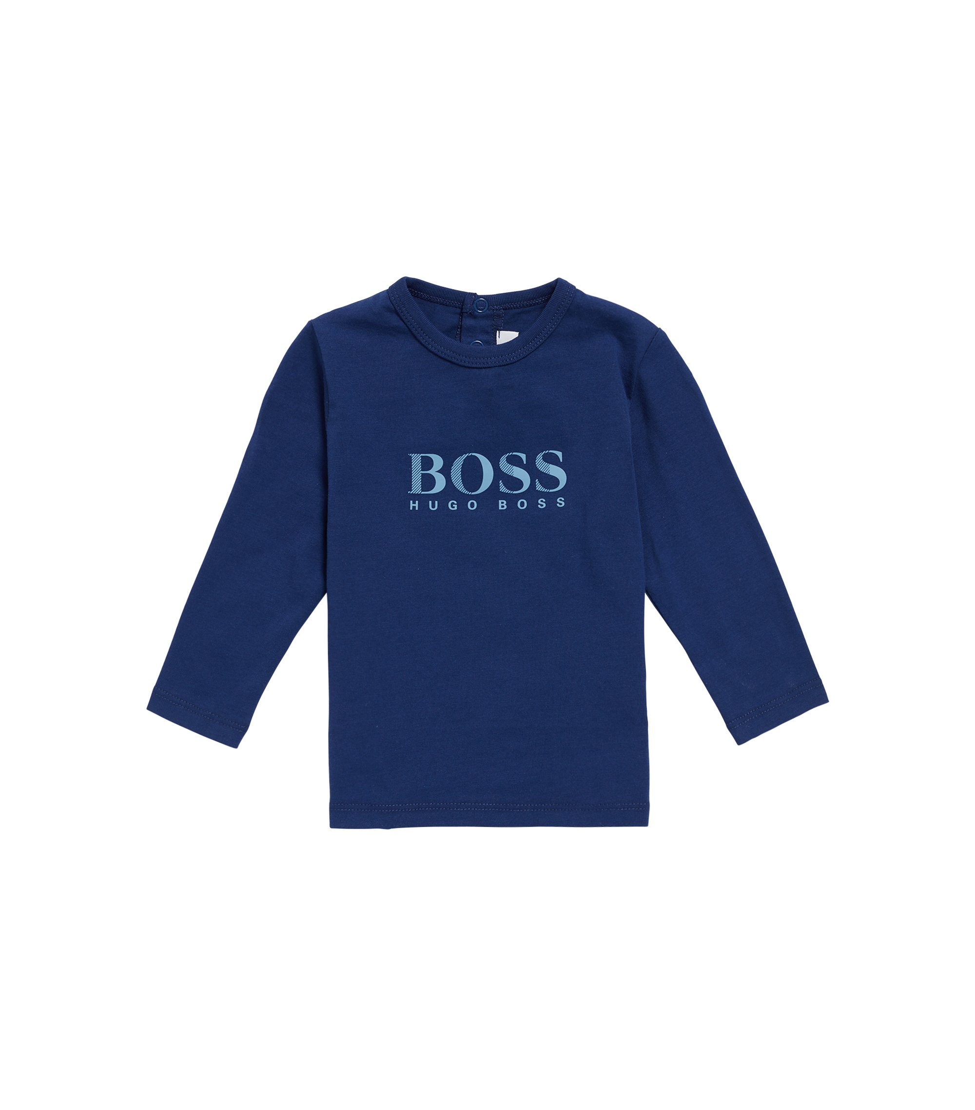 Kids' long-sleeved logo T-shirt in cotton, Dark Blue