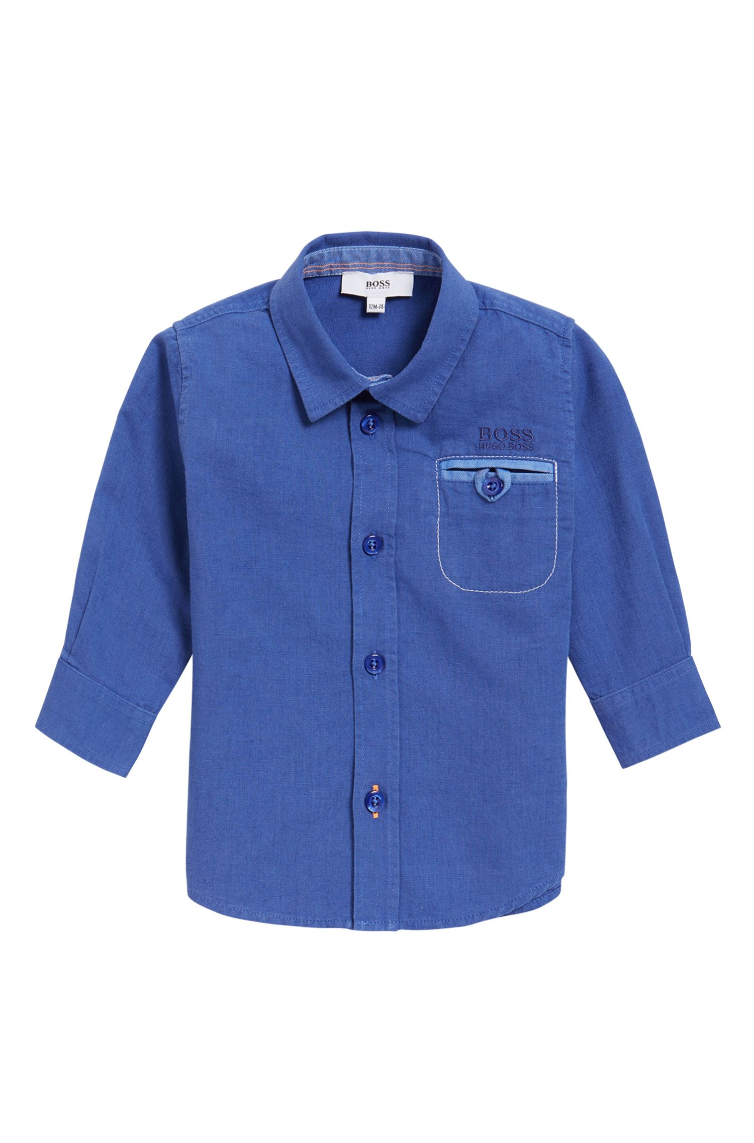 Kids-Hemd mit Stickdetail, Blau