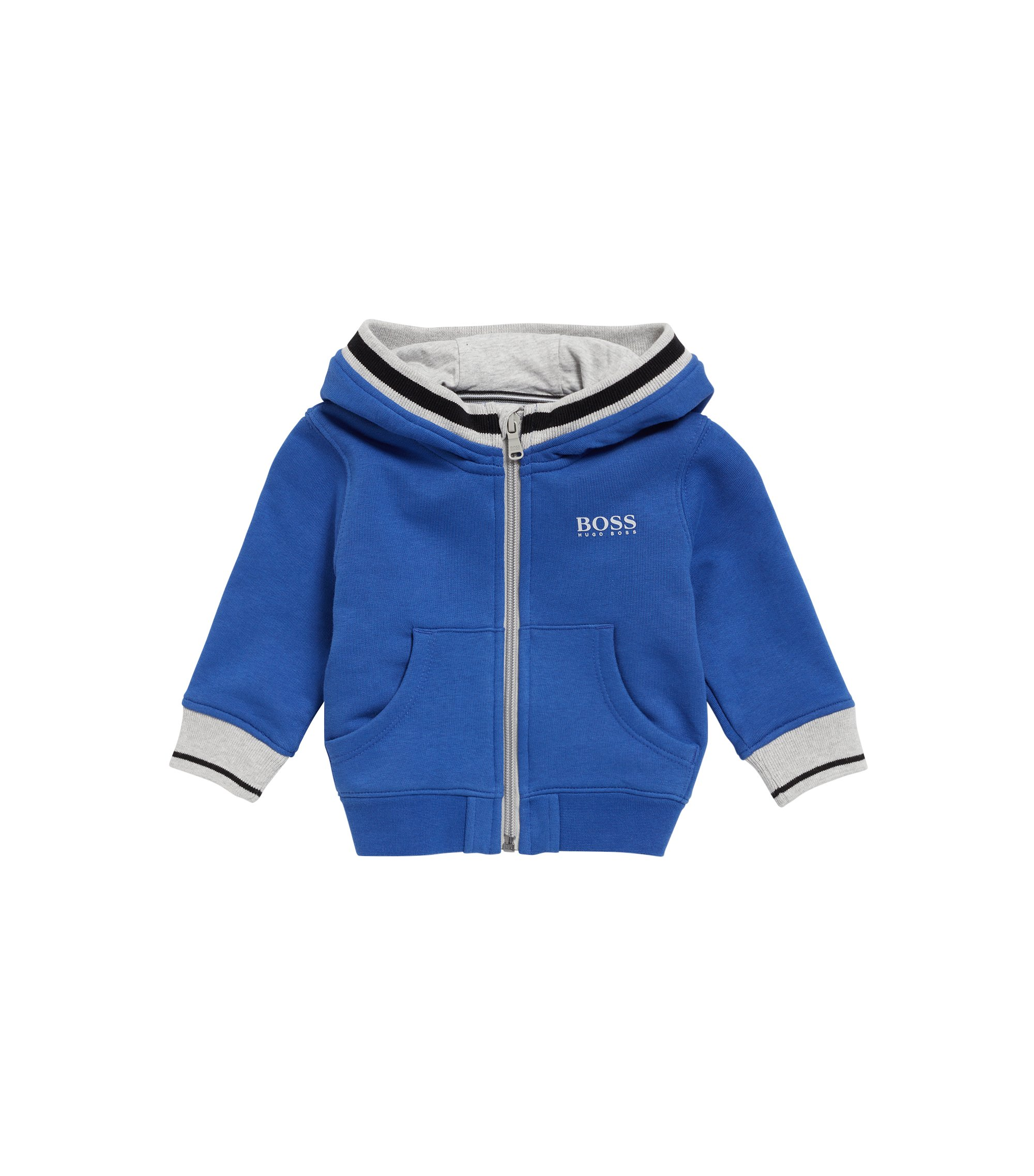 Kids-Kapuzenjacke aus French-Terry, Blau