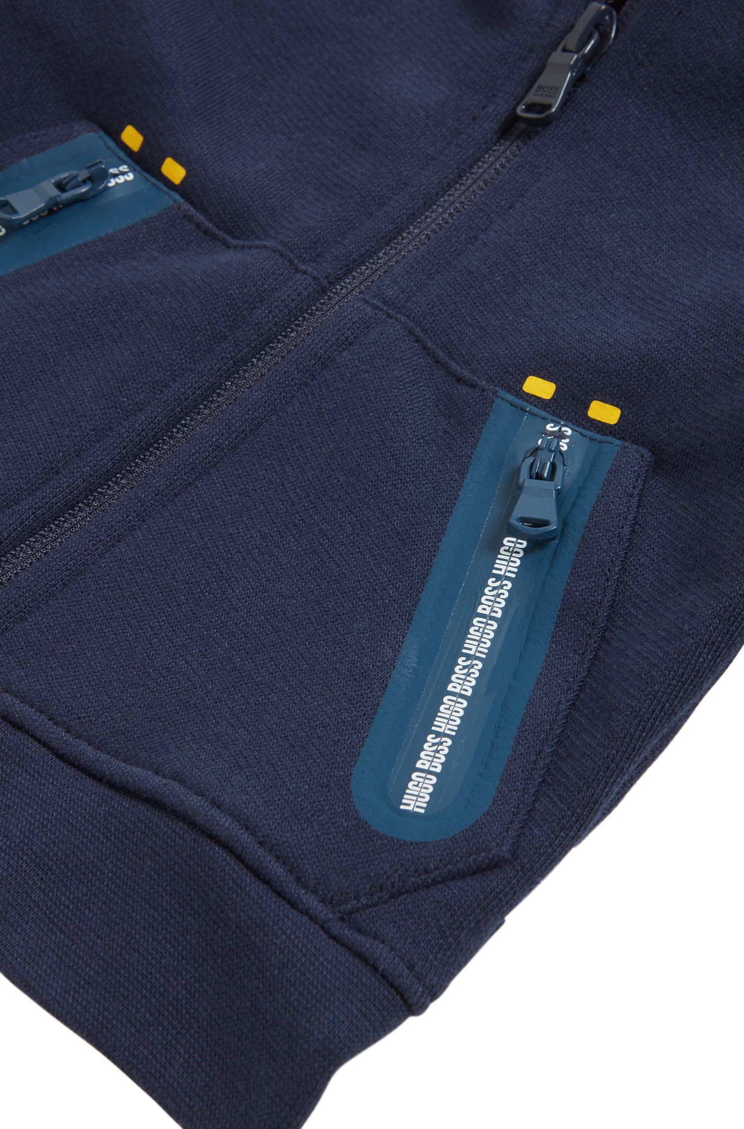 Kids-Kapuzenjacke aus Baumwoll-Fleece mit transparentem Logo, Dunkelblau