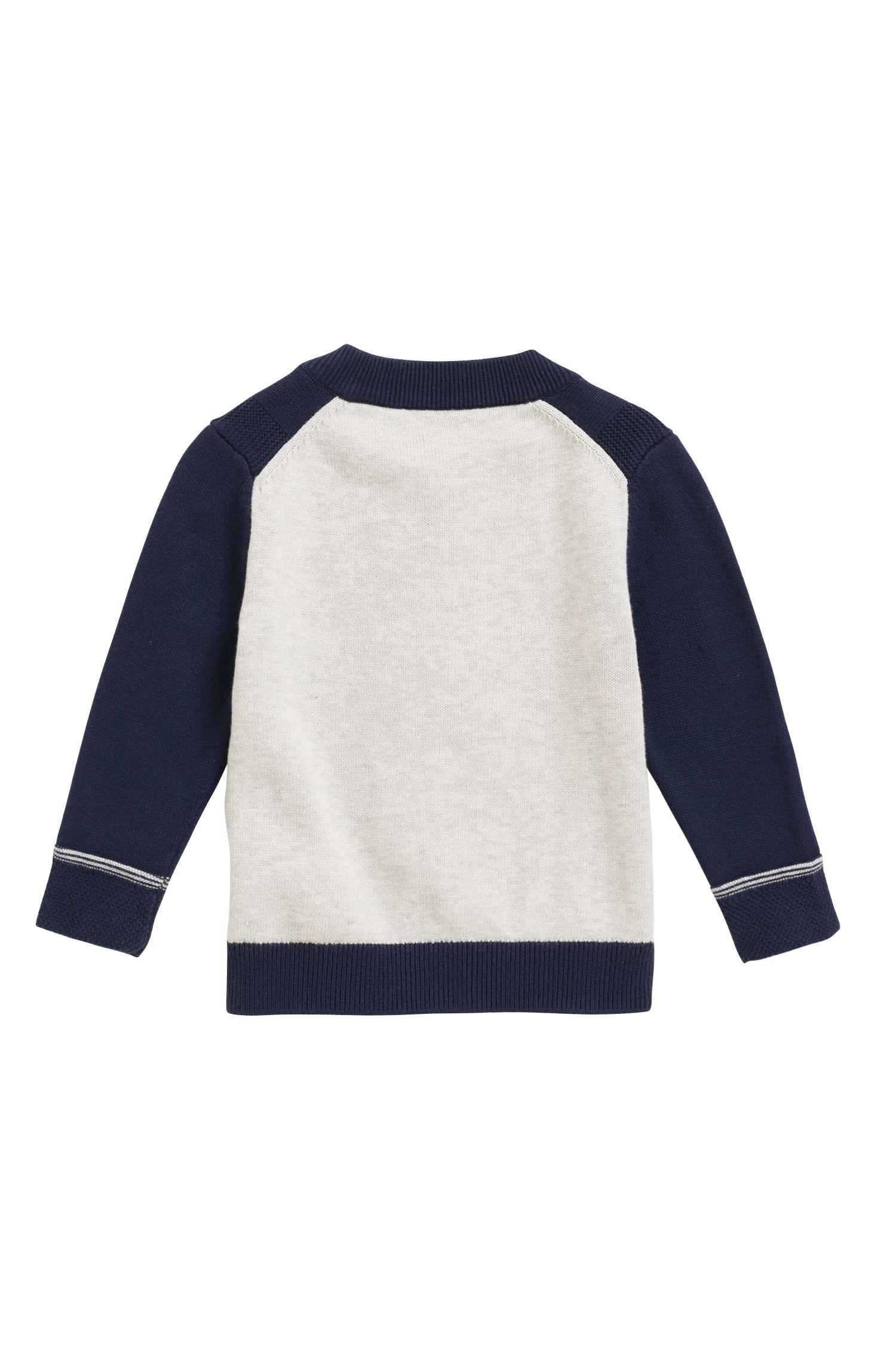 Cárdigan para niños en punto tricotado de algodón peinado con espalda en contraste, Azul oscuro