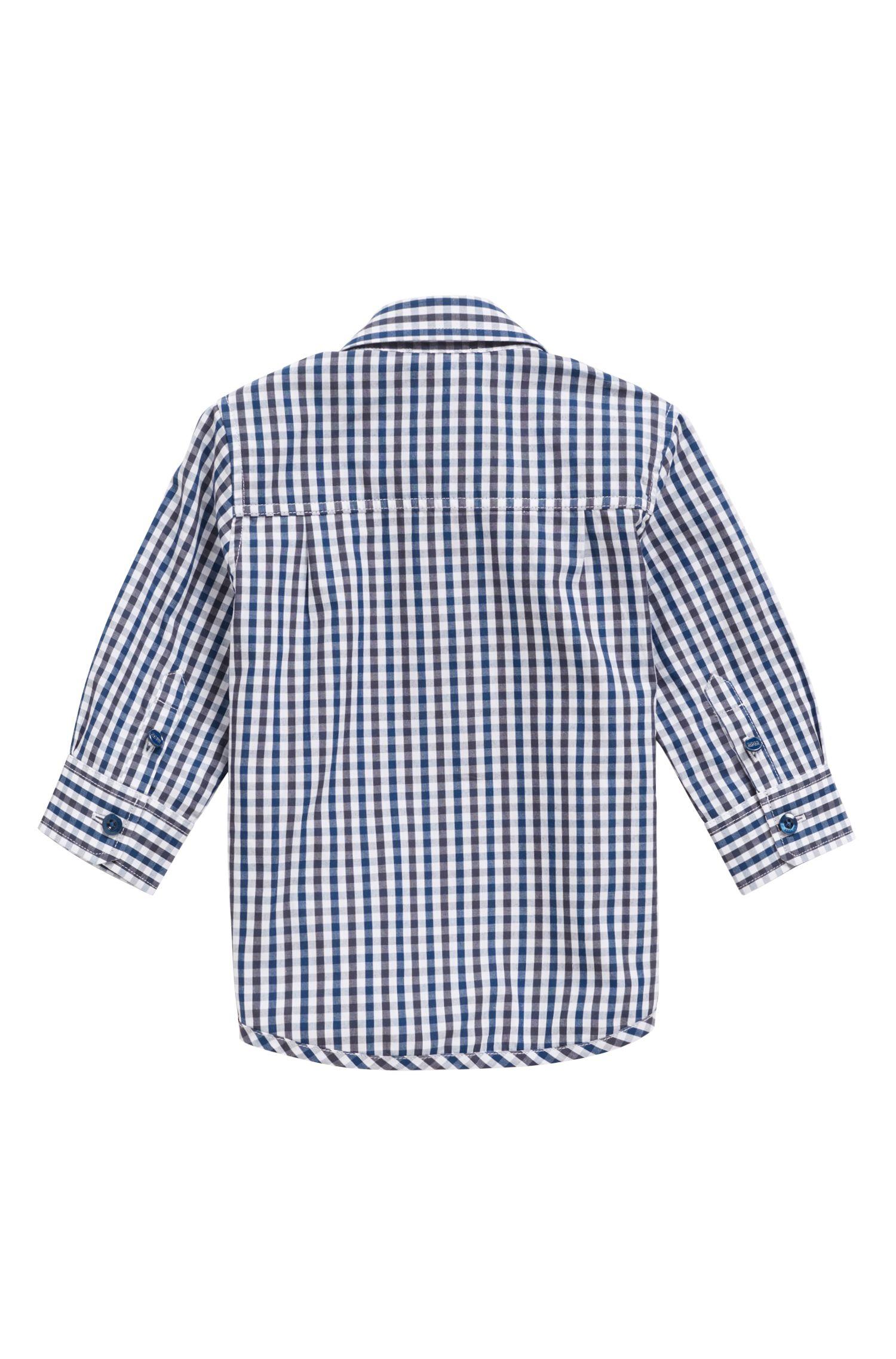 Camicia da bambino regular fit in popeline di cotone a quadri Vichy, A disegni