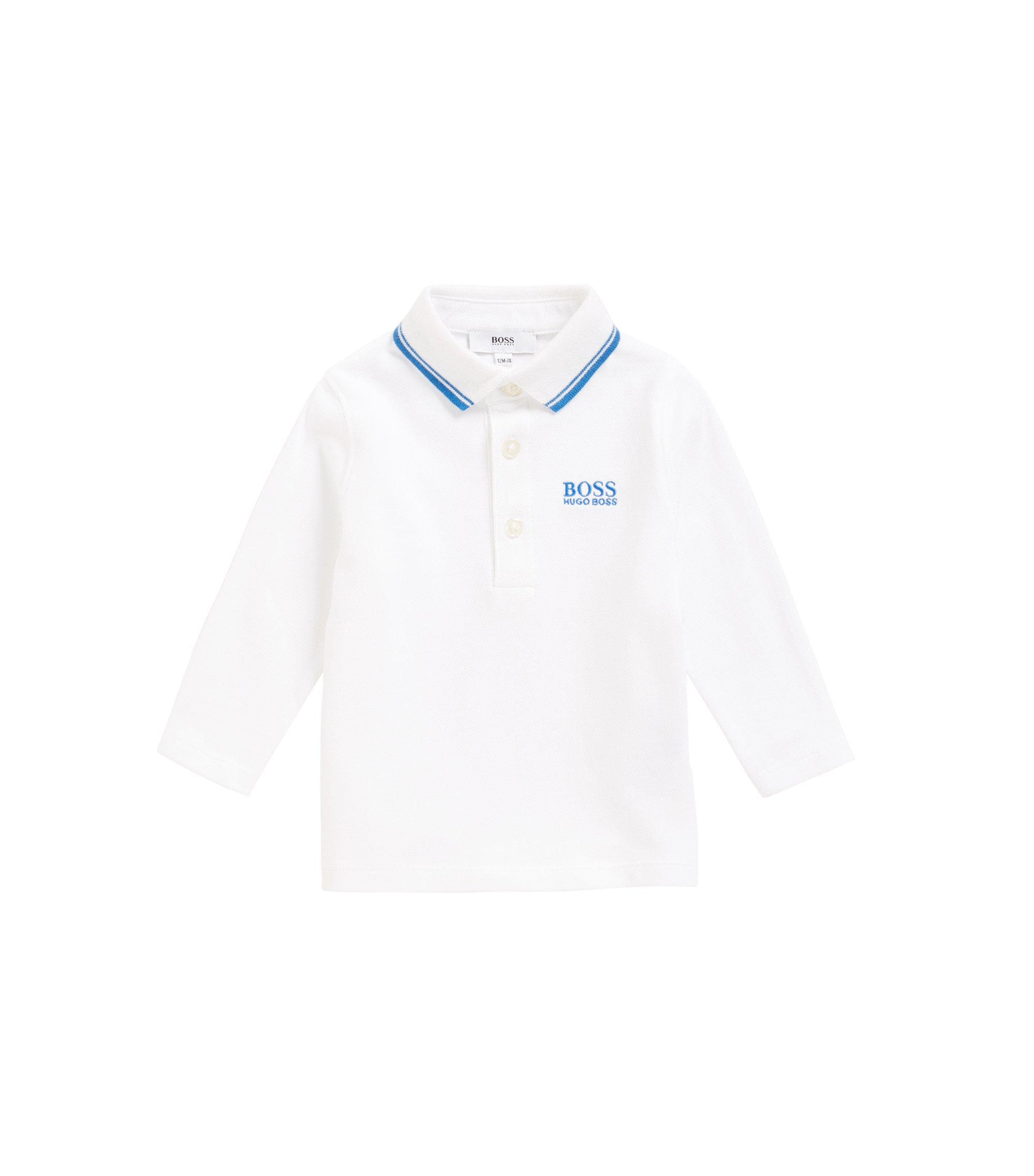 Kids' long-sleeved polo shirt with undercollar print, White