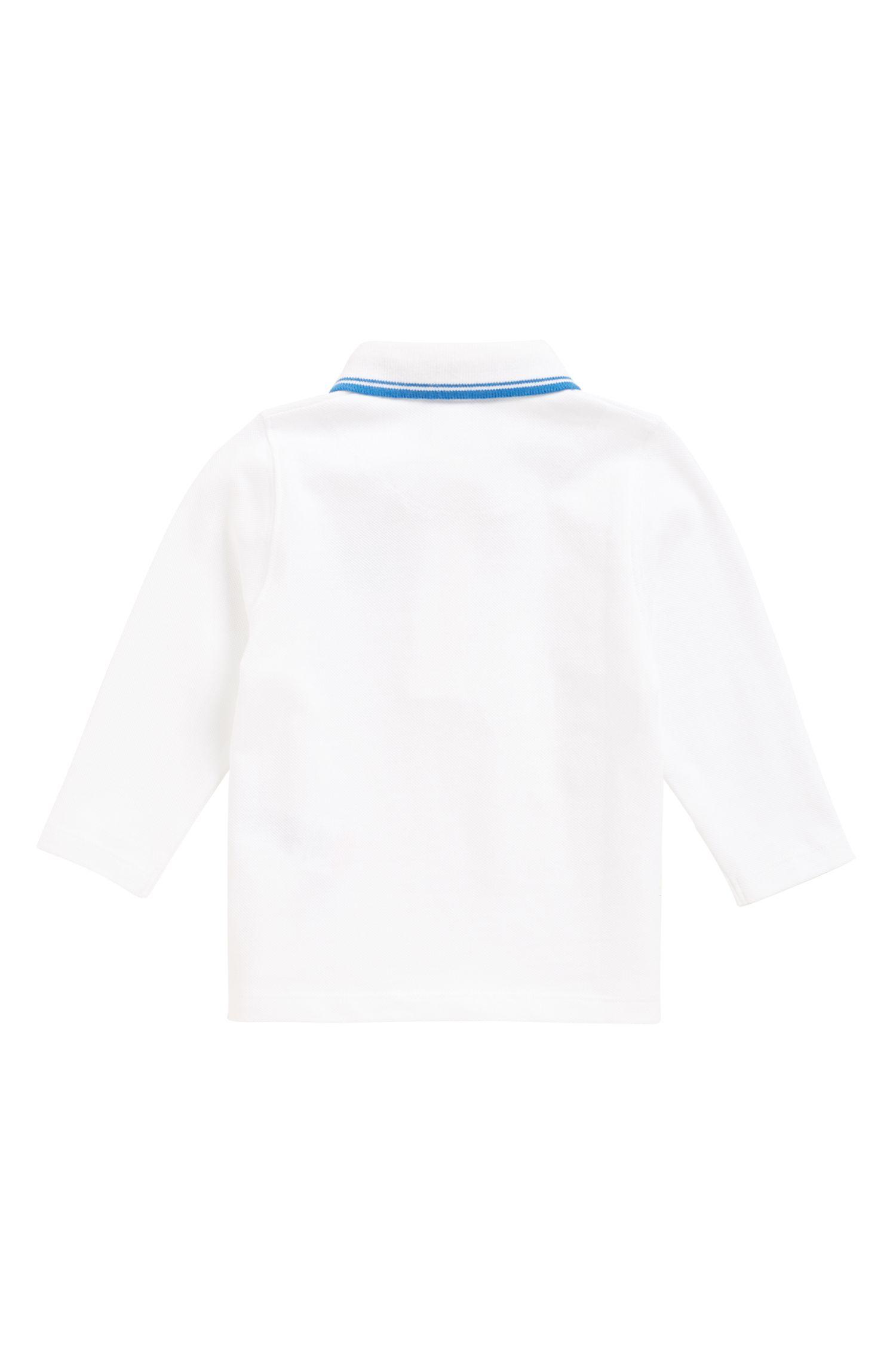 Polo de manga larga de algodón para niños con estampado en el interior del cuello, Blanco