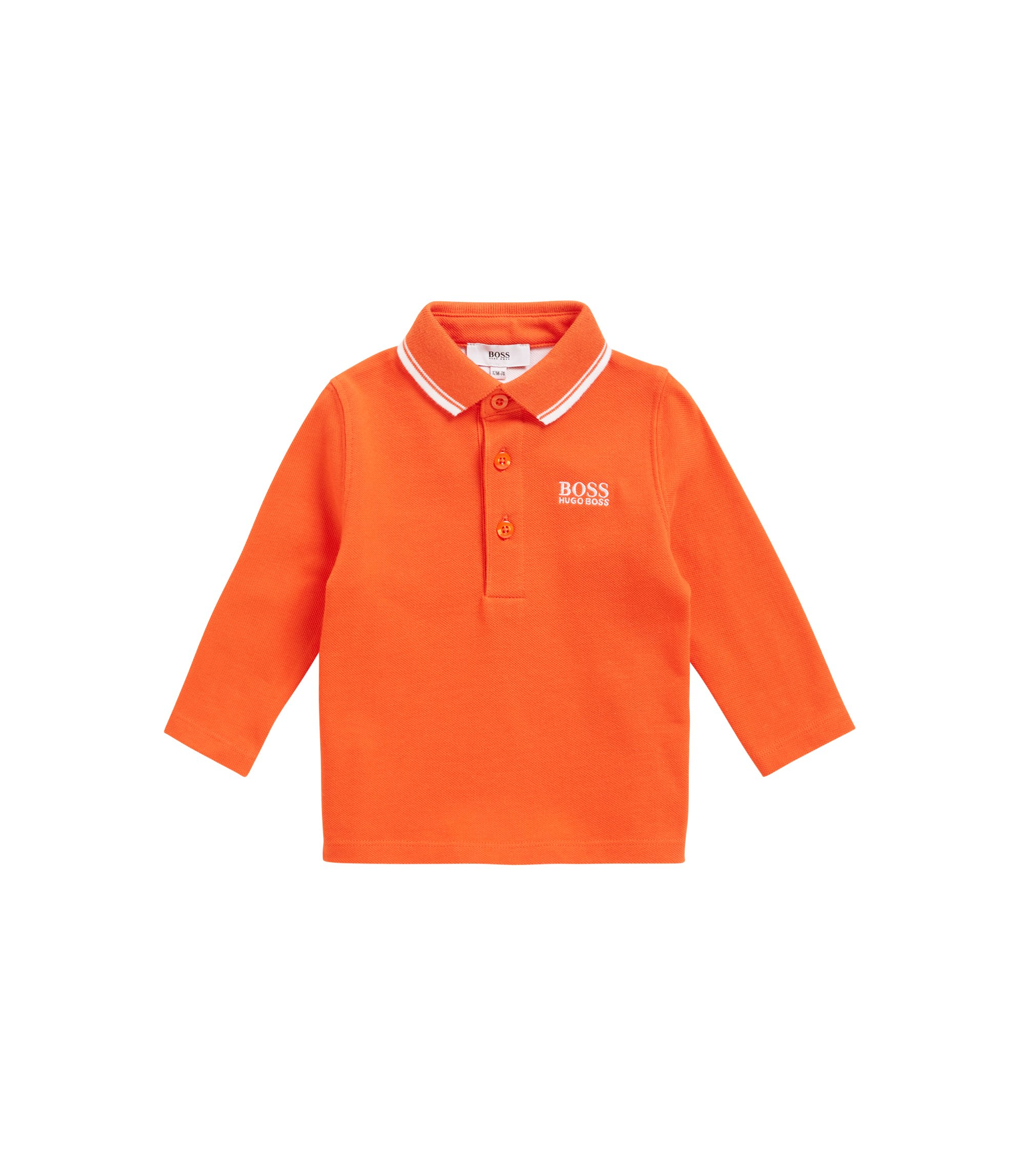 Kids' long-sleeved polo shirt with undercollar print, Red