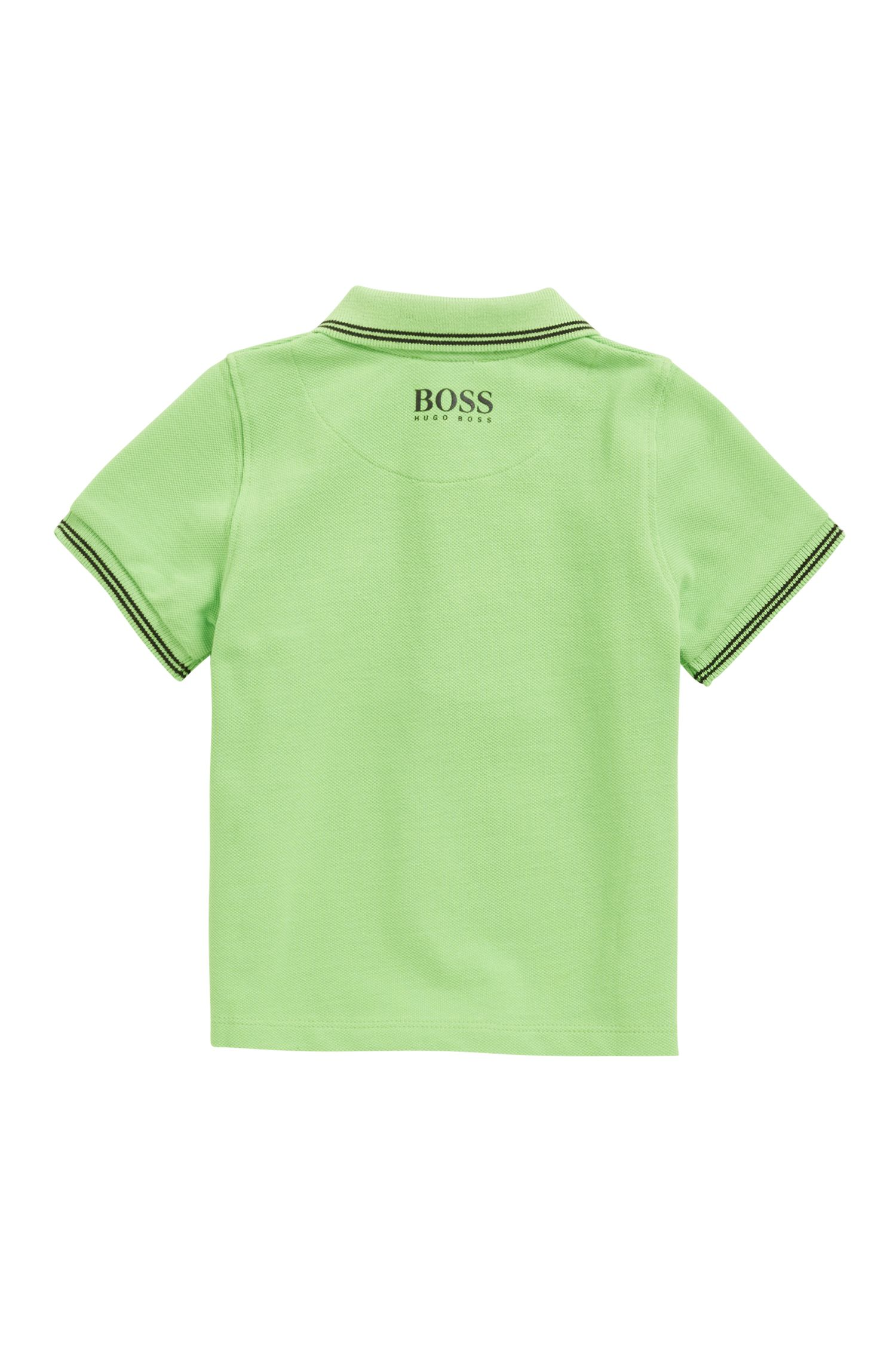 Polo regular fit para niños en piqué de algodón, Verde