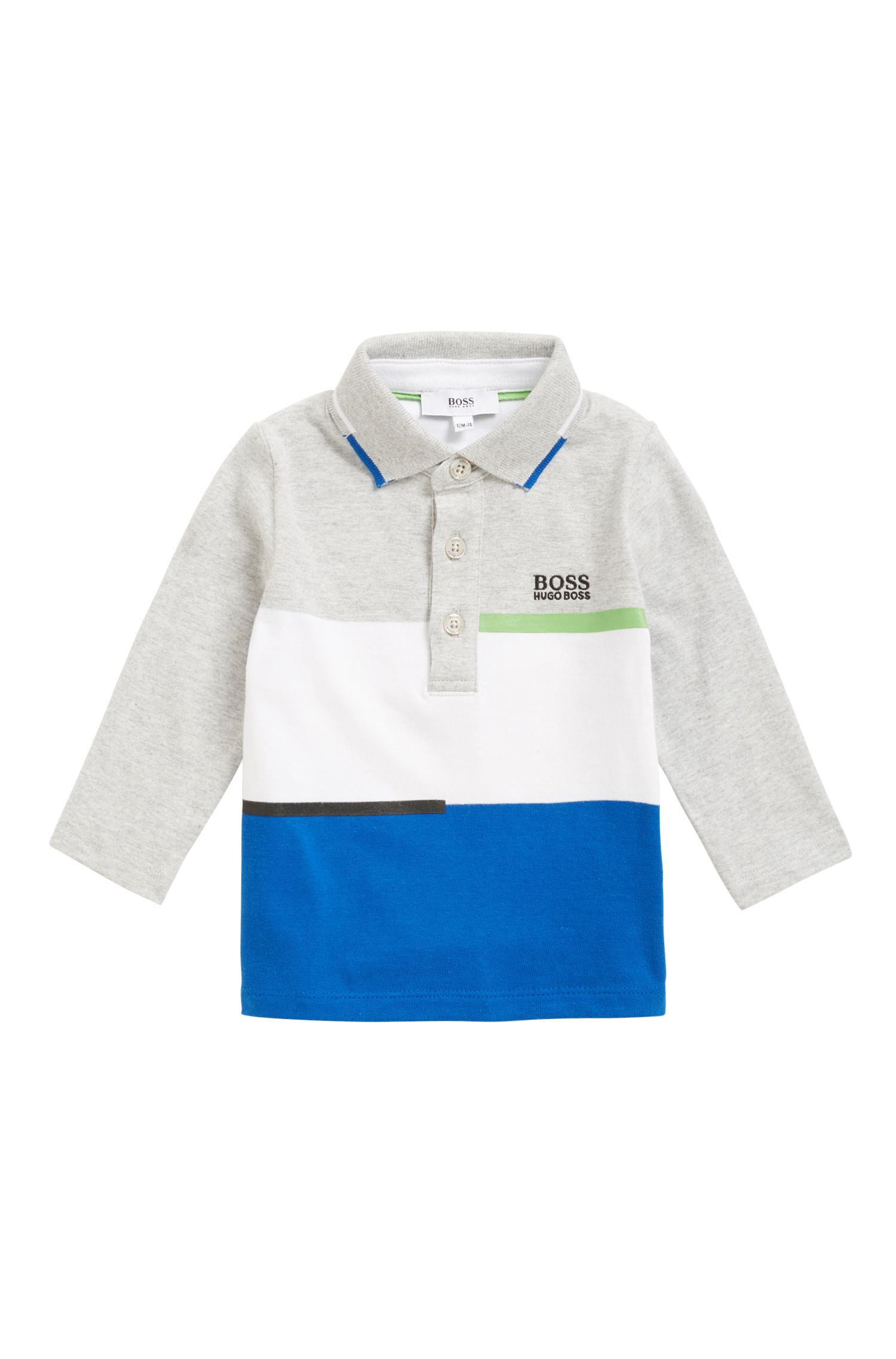 Kids-Longsleeve-Poloshirt aus Baumwoll-Jersey in Colour-Block-Optik, Hellgrau