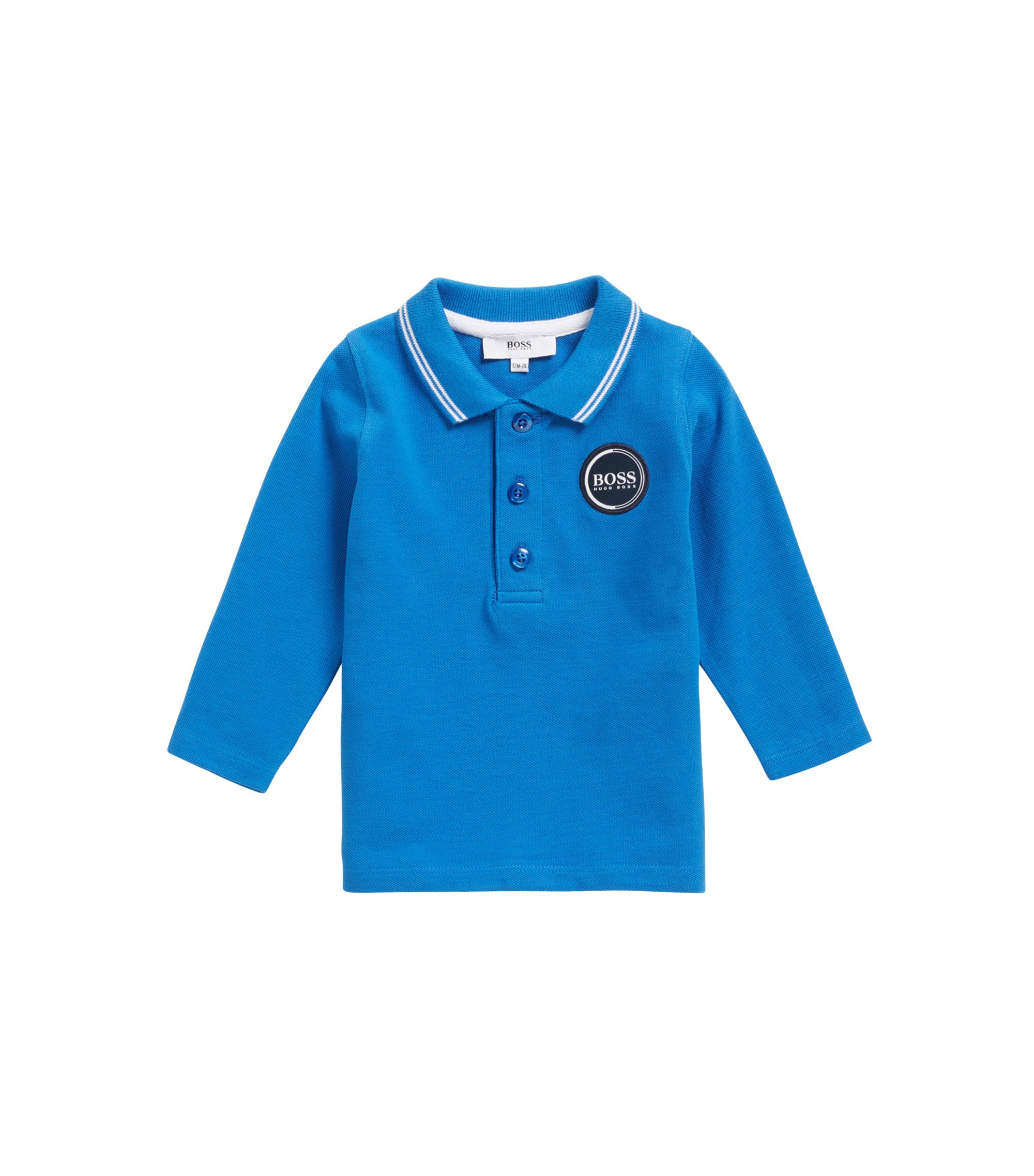 Kids' polo shirt in cotton piqué with back logo print, Blue