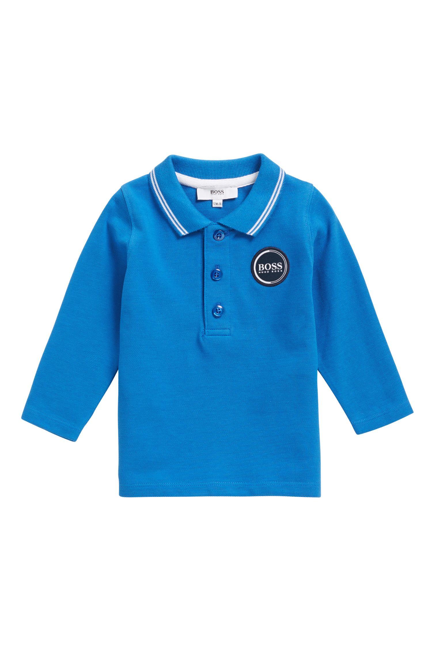 Kids-Longsleeve-Poloshirt aus Baumwoll-Piqué mit Logo-Print hinten, Blau