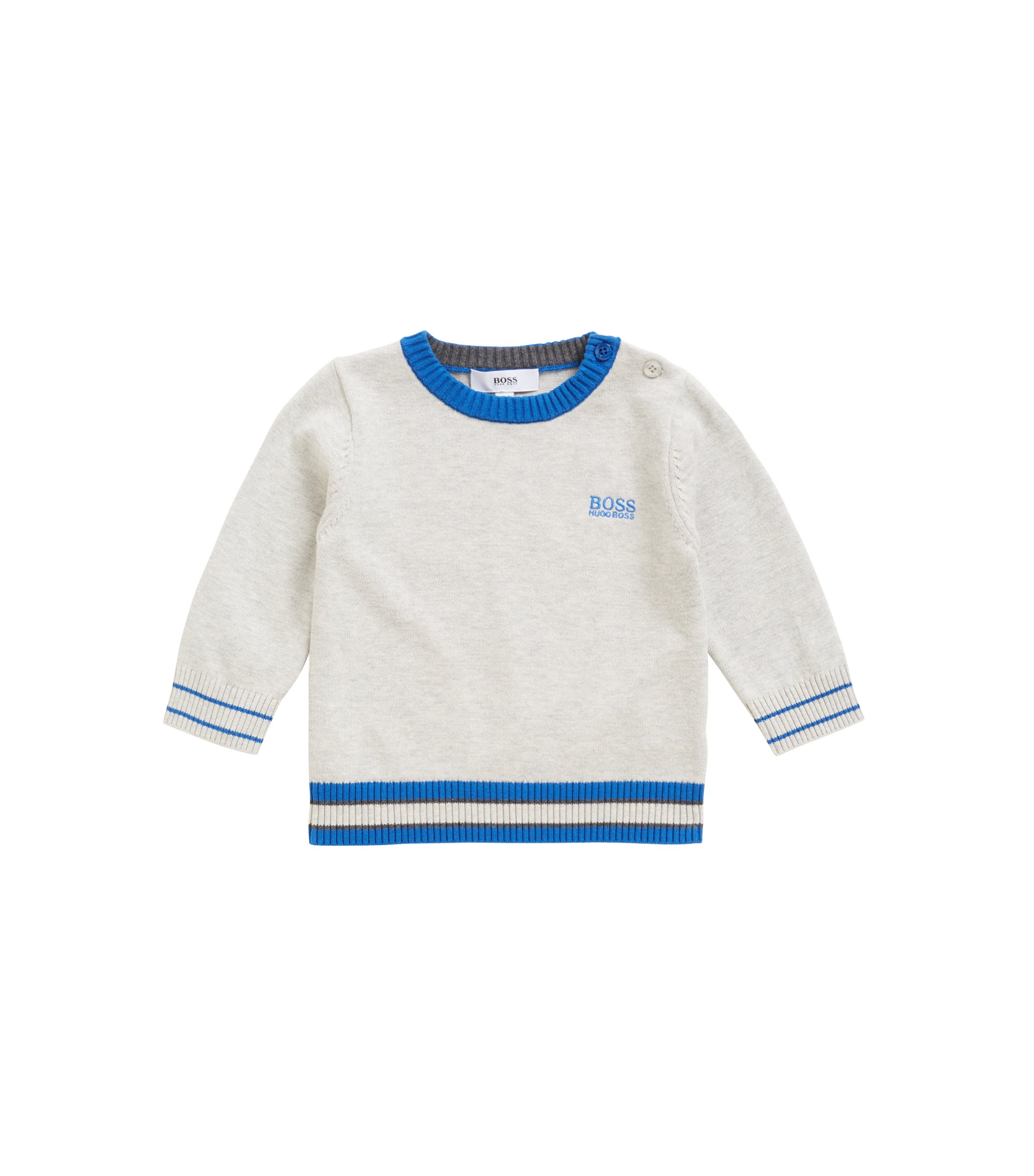 Kids' regular-fit sweater in pure combed cotton, Light Grey