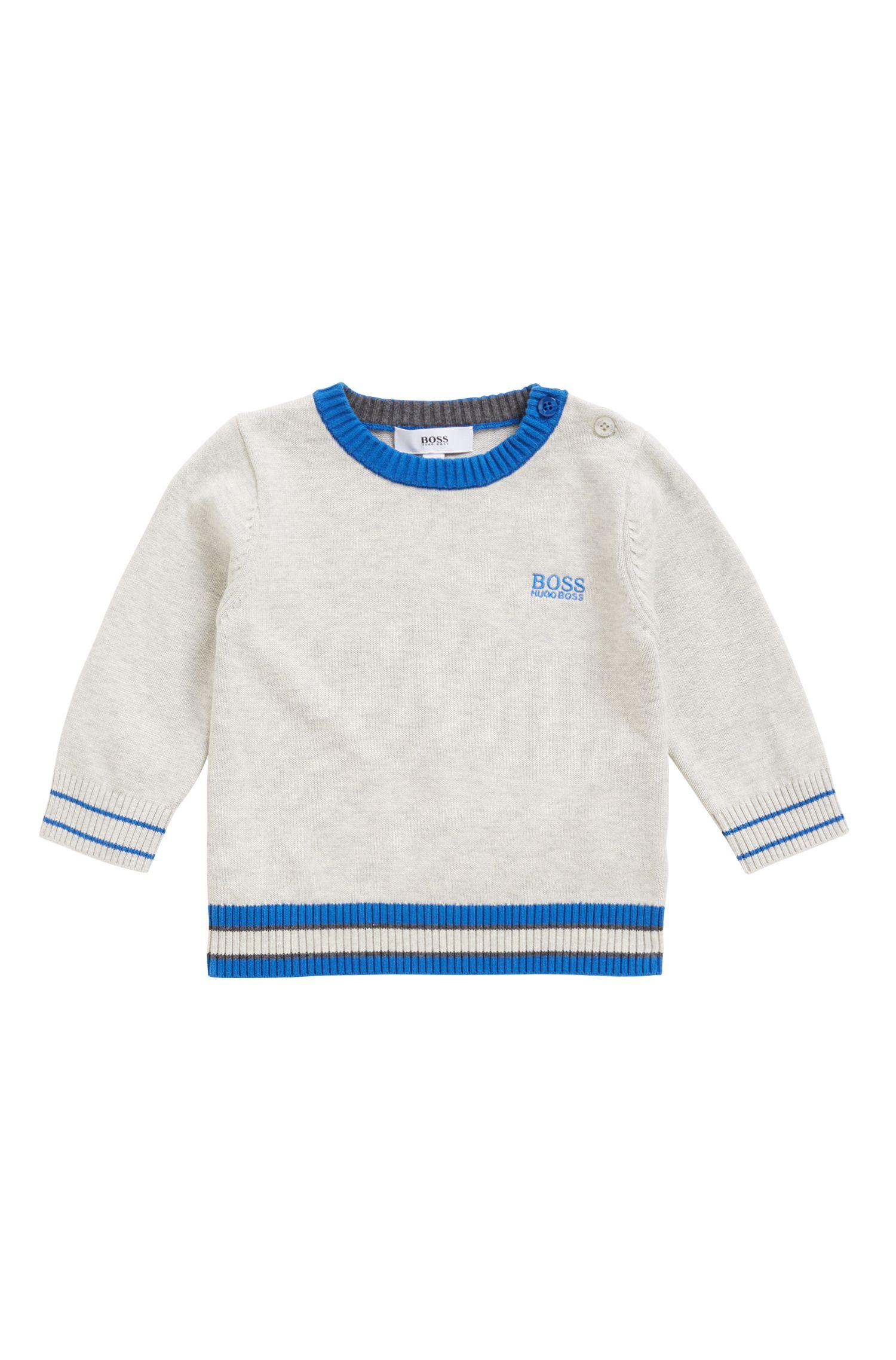 Regular-Fit Kids-Pullover aus gekämmter Baumwolle, Hellgrau