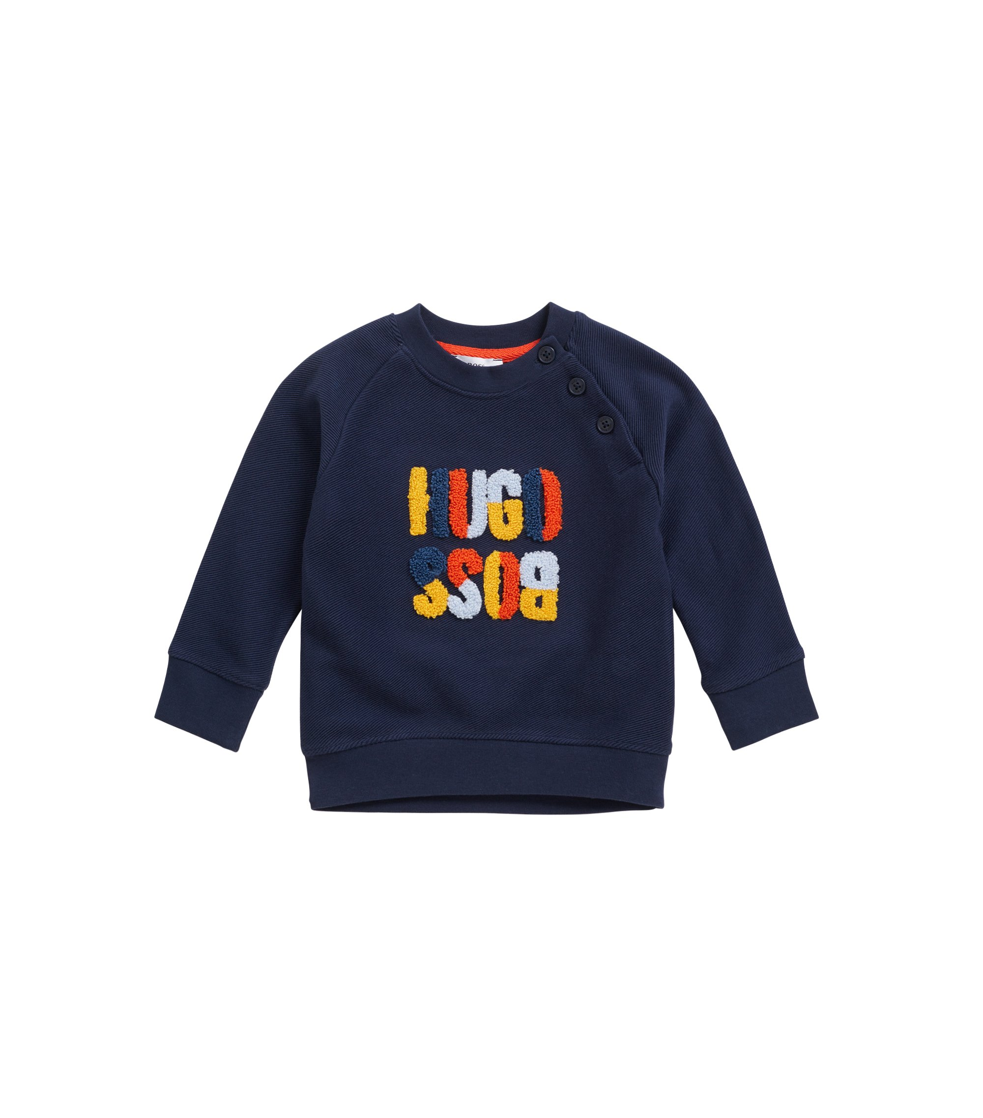 Baby regular-fit loungewear sweatshirt in pure cotton fleece, Dark Blue