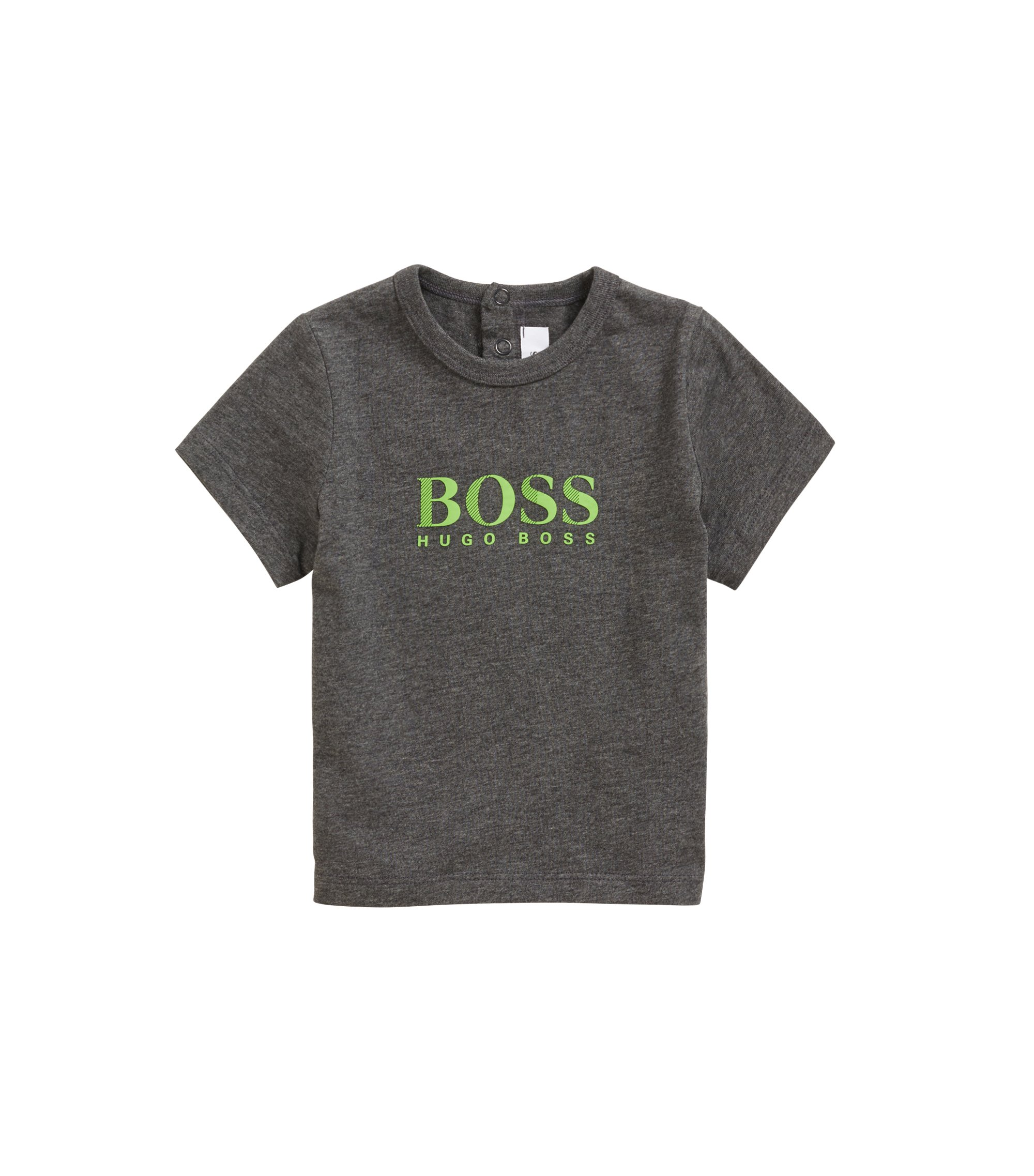 Kids' cotton jersey T-shirt with logo print, Anthracite