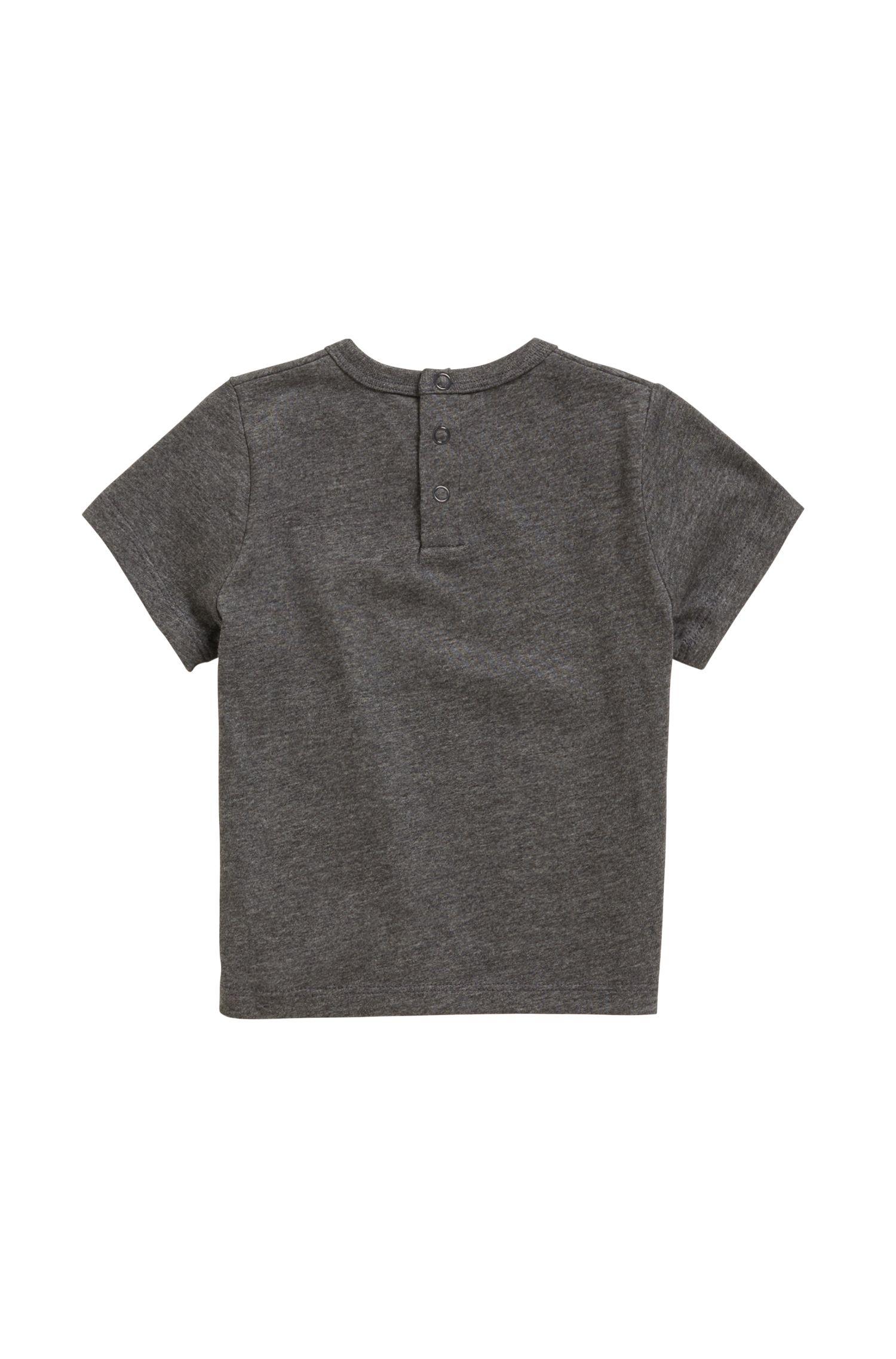 Kinder-T-shirt van katoenen jersey met logoprint, Antraciet