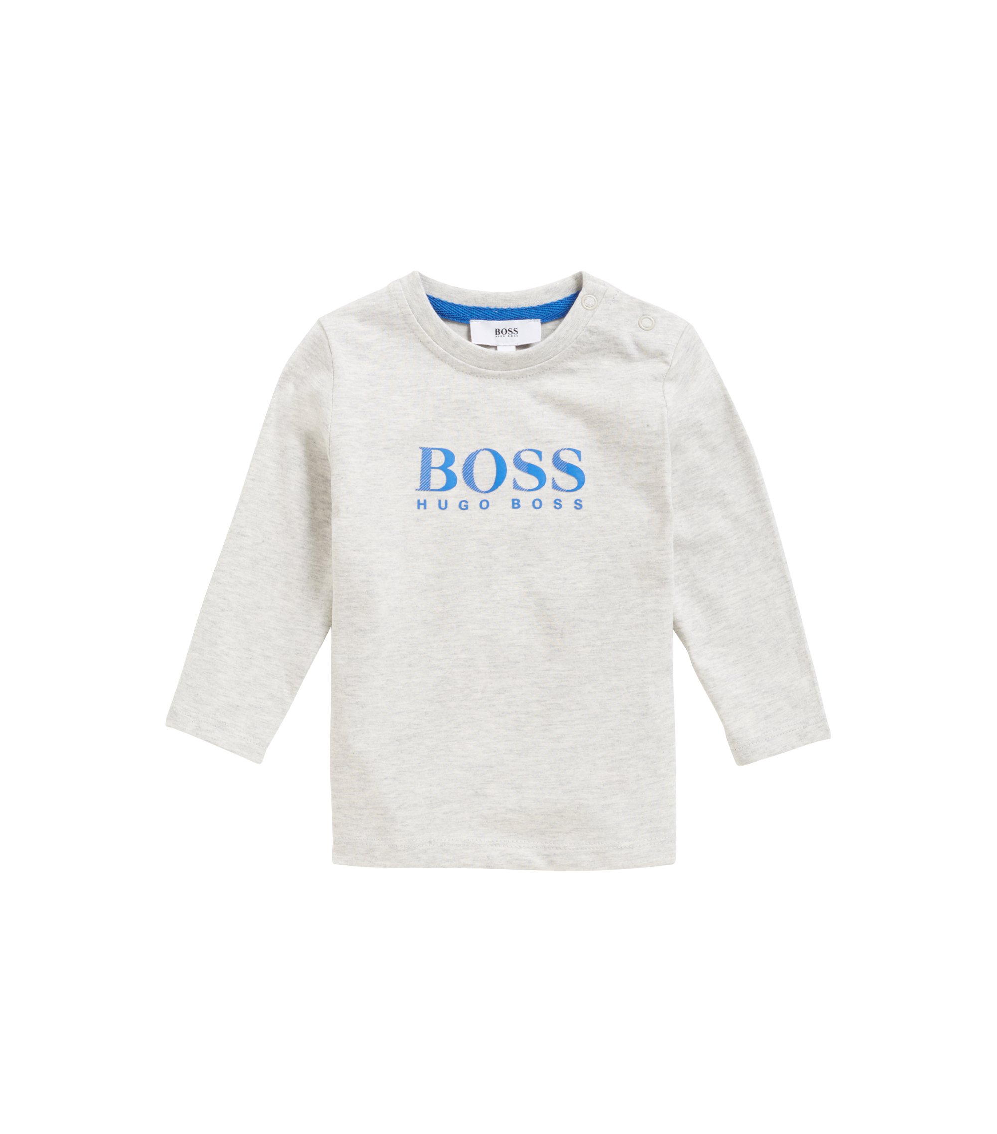 Kids' long-sleeved cotton jersey T-shirt with logo print, Light Grey