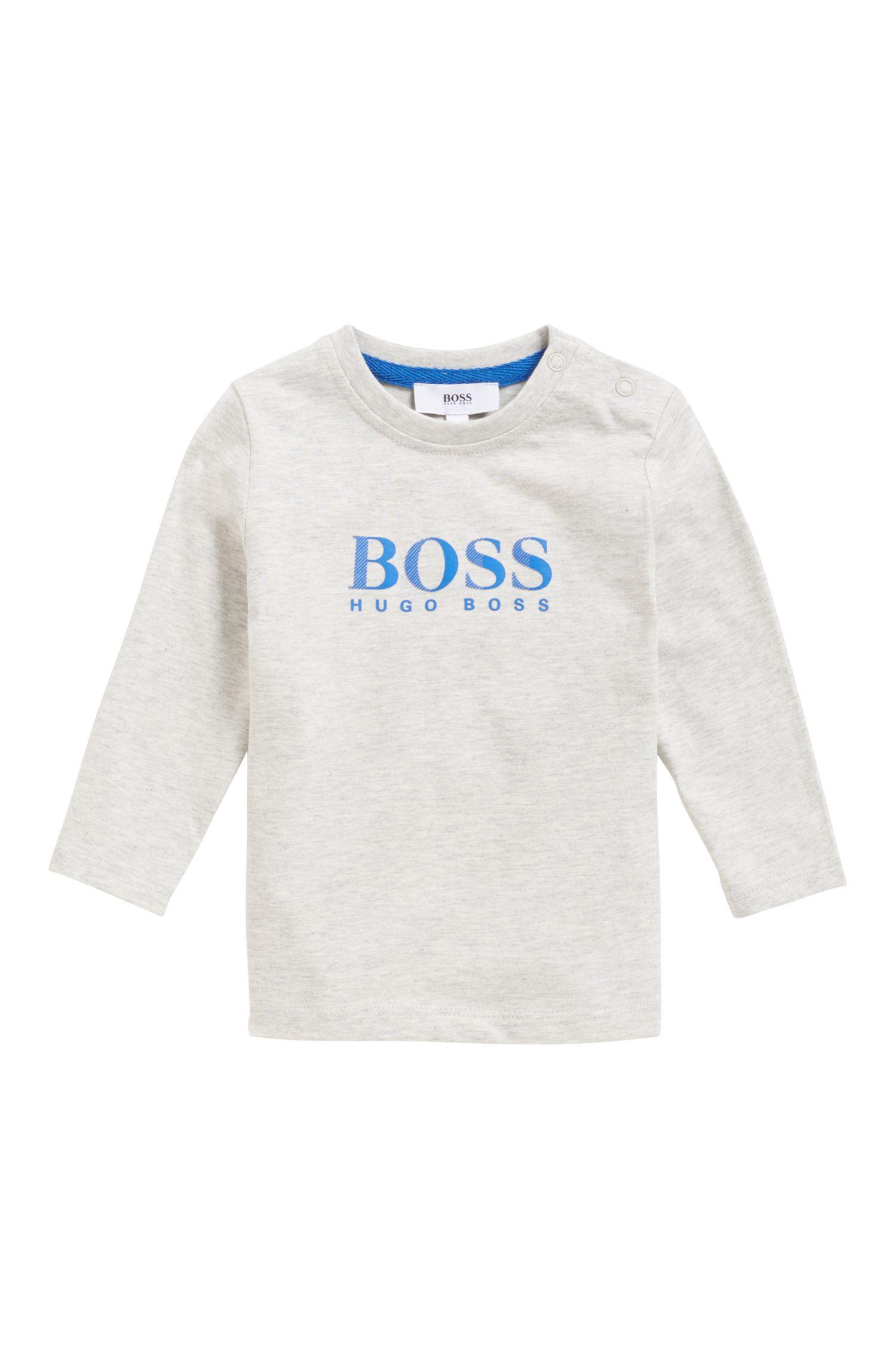 T-shirt à manches longues pour enfant en jersey de coton à logo imprimé, Gris chiné