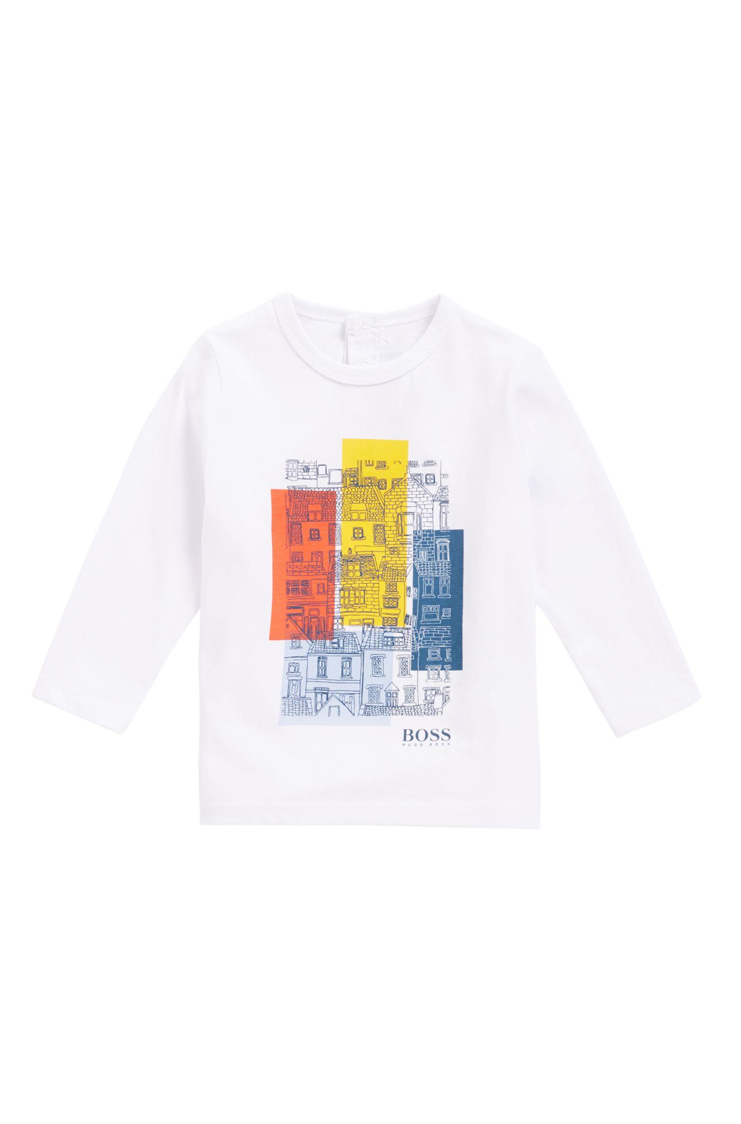 T-shirt à manches longues pour enfant en coton, à imprimé graphique, Blanc
