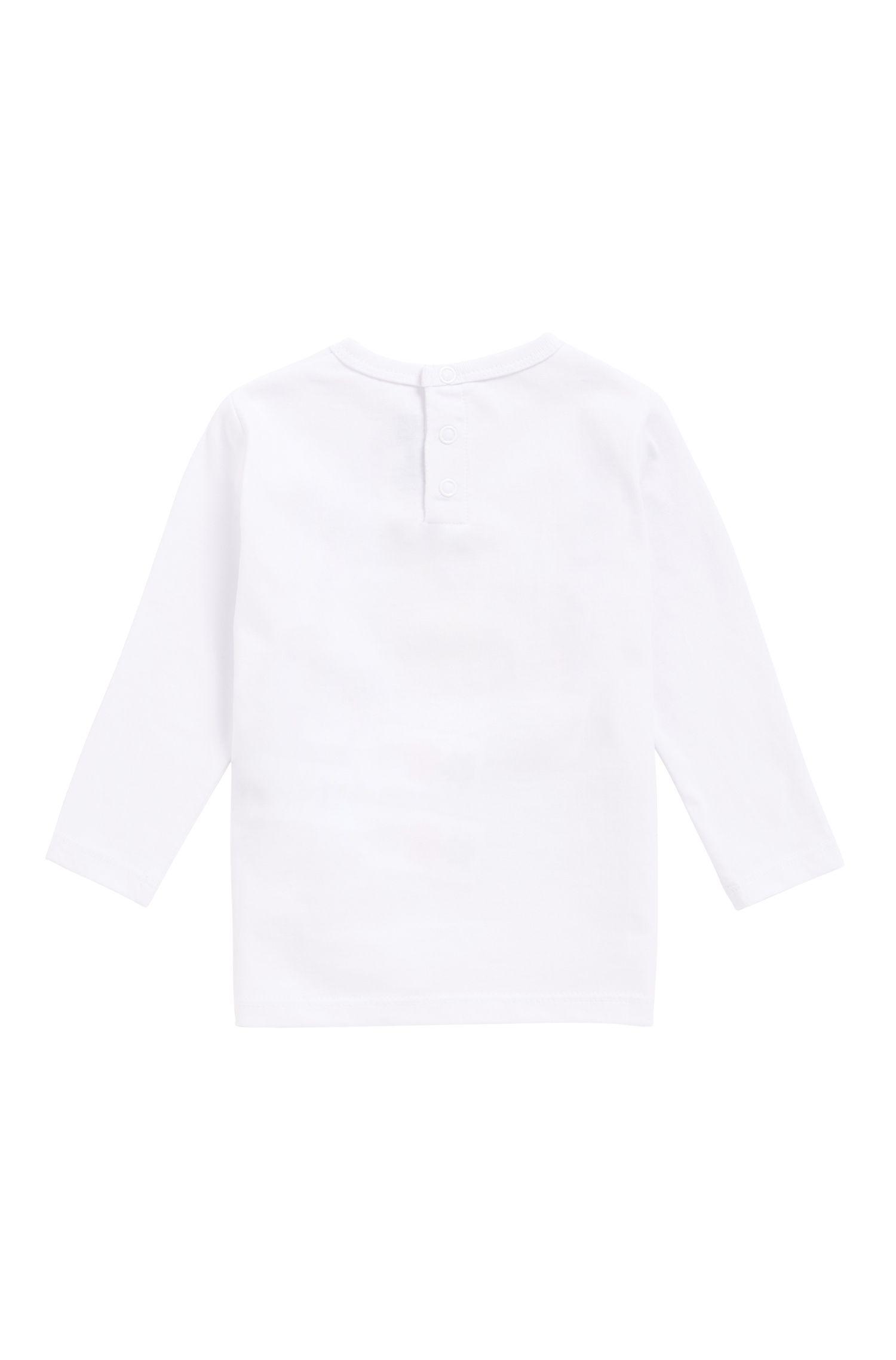 Camiseta de manga larga para niños en algodón con logo gráfico estampado, Blanco