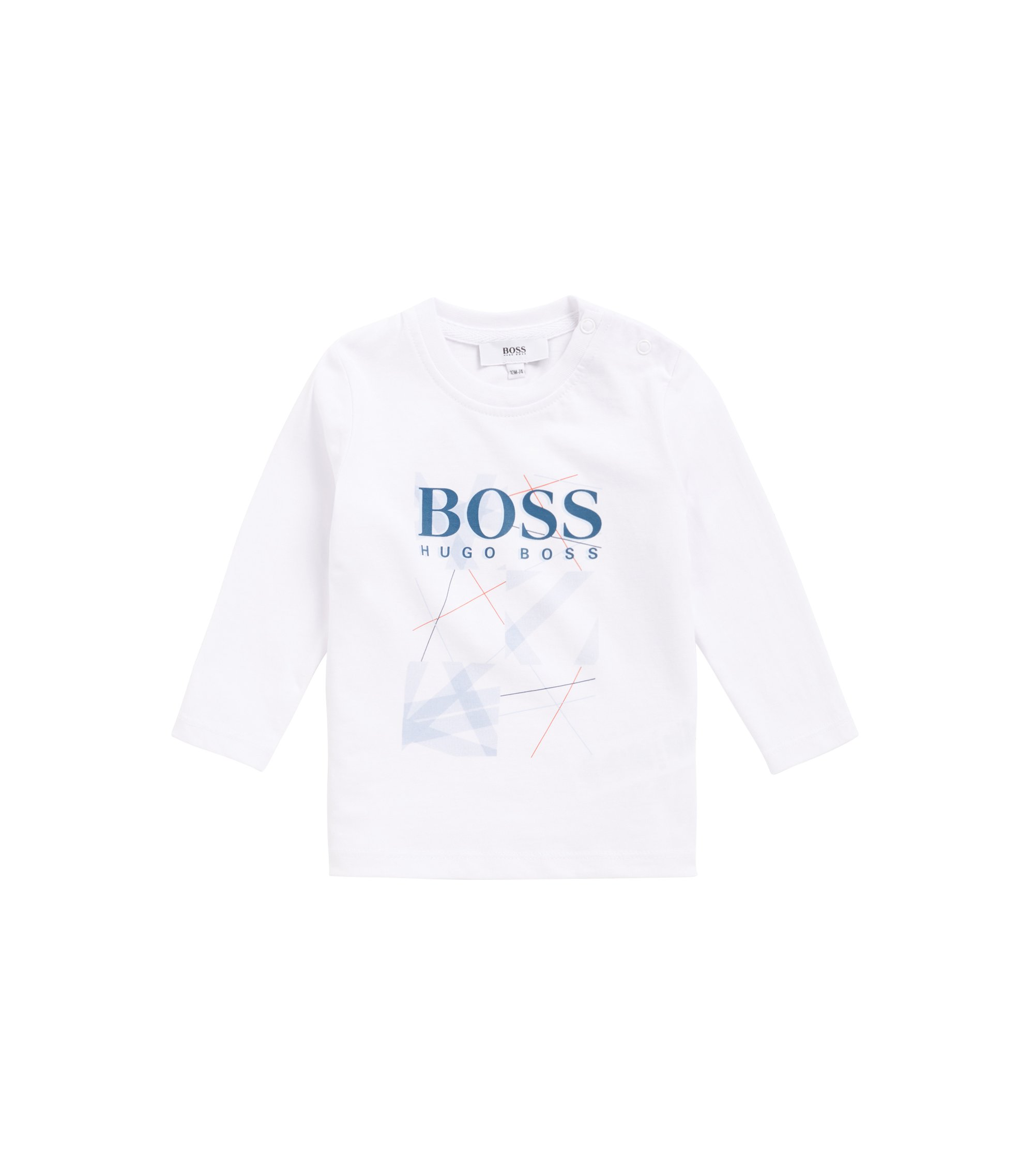 Kids' cotton jersey T-shirt with printed logo graphic, White