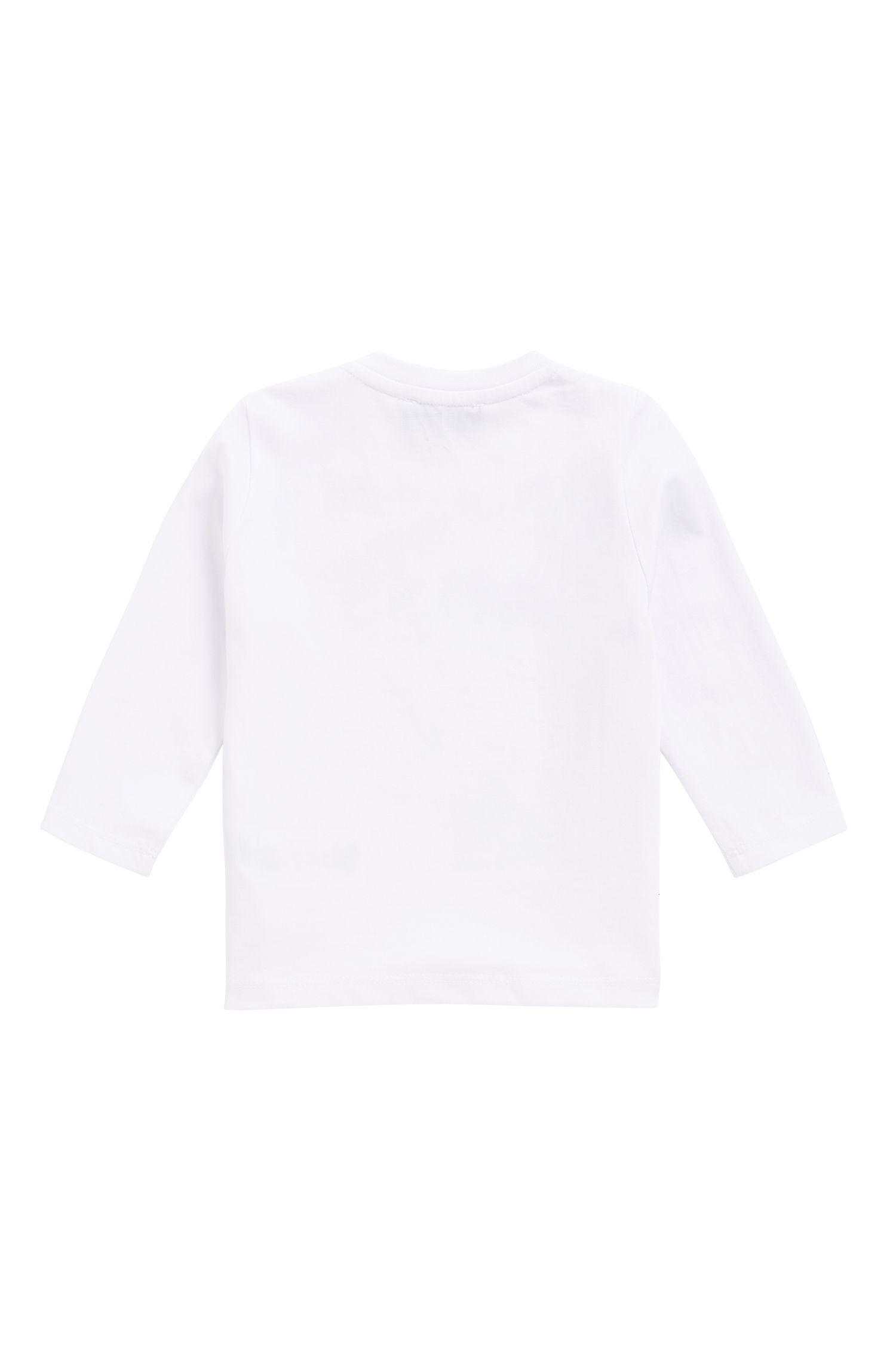 Kids-Longlseeve aus Baumwoll-Jersey mit Logo-Print, Weiß
