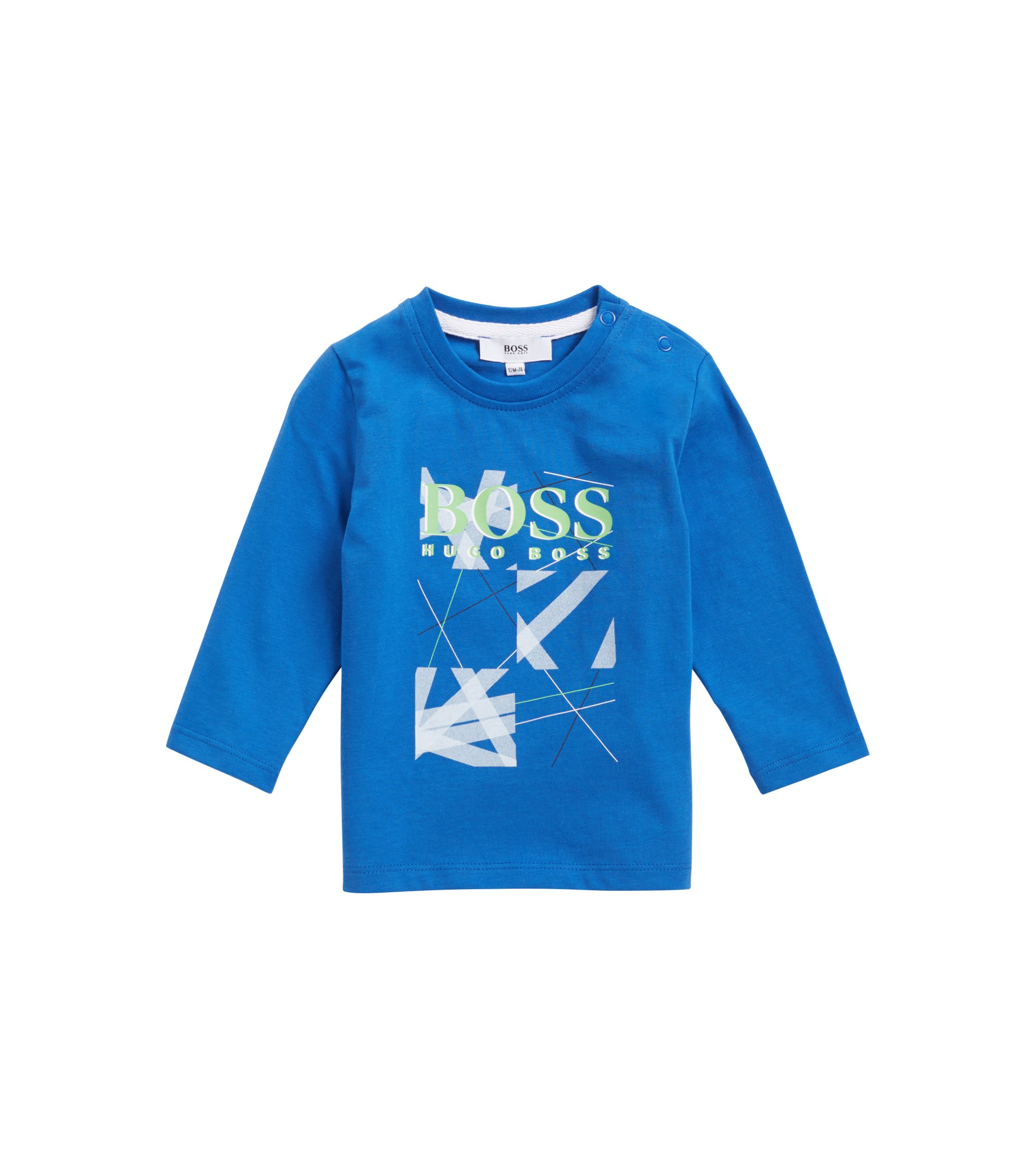 Kids' cotton jersey T-shirt with printed logo graphic, Blue