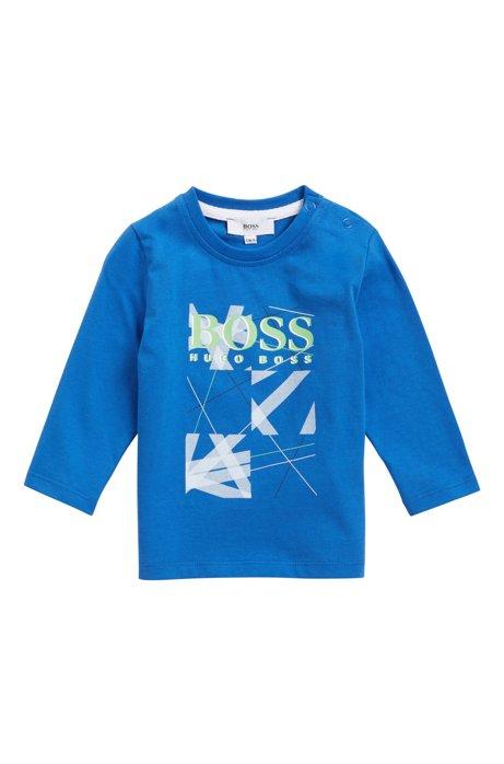T-shirt pour enfant en jersey de coton avec logo graphique, Bleu