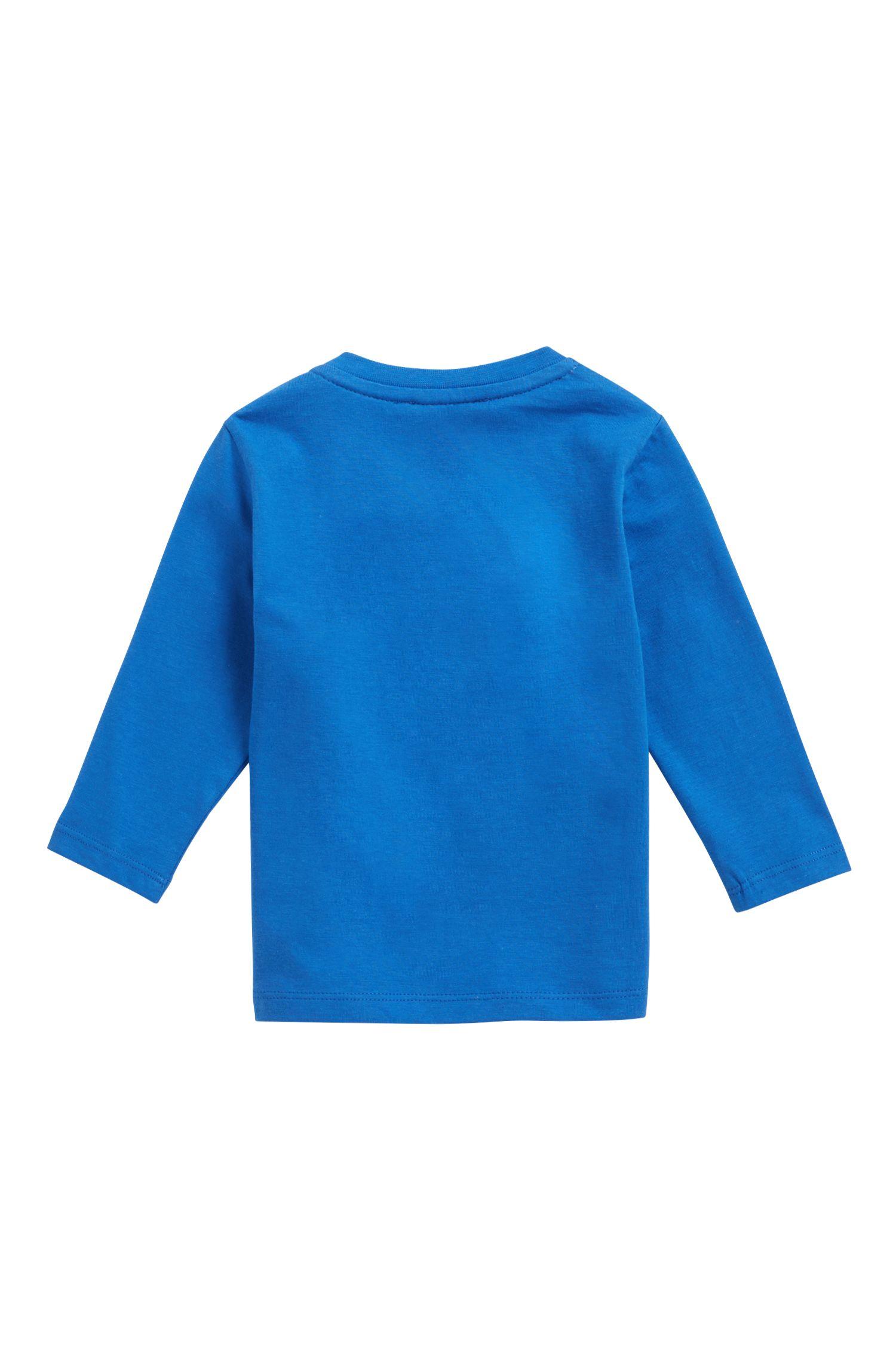Kinder-T-shirt van katoenen jersey met grafische logoprint, Blauw