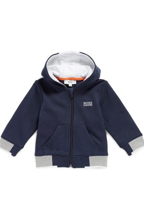 Veste pour enfant en molleton avec capuche à logo imprimé, Bleu foncé