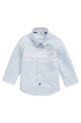 Chemise pour enfant en popeline de coton à grosses rayures, Bleu vif