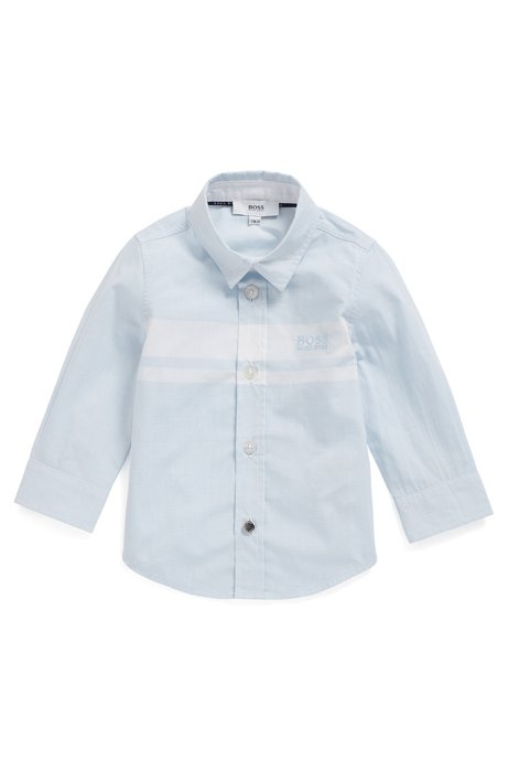 Kids' shirt in cotton poplin with block stripes, Light Blue