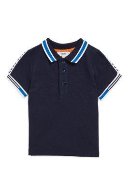 Polo pour enfant en maille piquée avec ruban logo, Bleu foncé