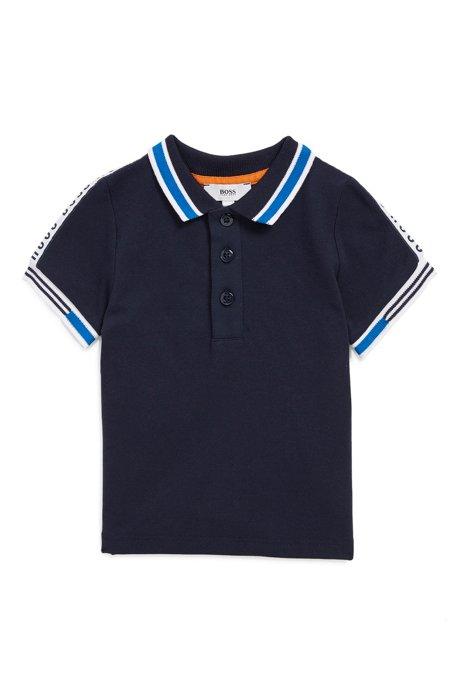 Kids' piqué polo shirt with logo-tape detailing, Dark Blue
