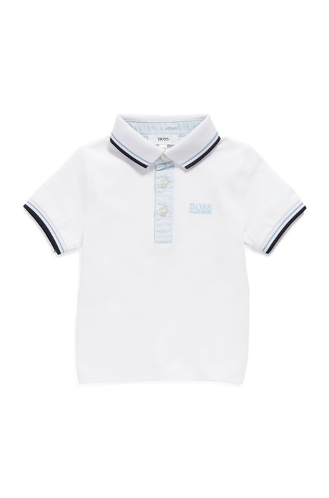 Kids' polo shirt in stretch cotton with striped trims, White