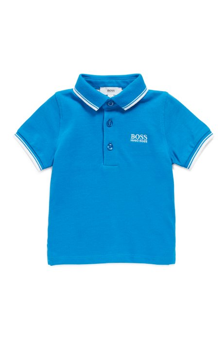 Kids' polo shirt in cotton piqué with tipping details, Blue