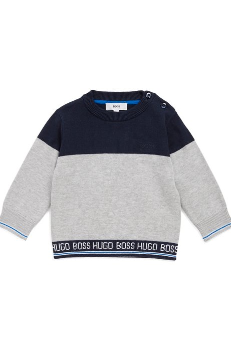 Kids' knitted sweater in combed cotton with logo waistband, Light Grey