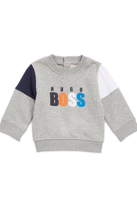 Kids' terry sweatshirt with logo embroidery, Light Grey