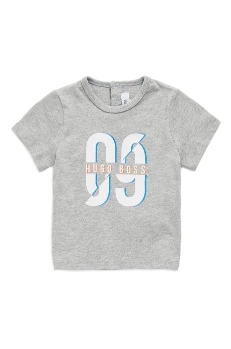 Kinder-T-shirt van gemêleerde katoen met logo-artwork, Lichtgrijs