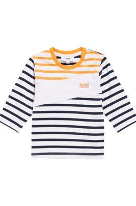 Kids-Longsleeve aus Single Jersey mit maritimen Streifen und Logo-Balken, Gemustert