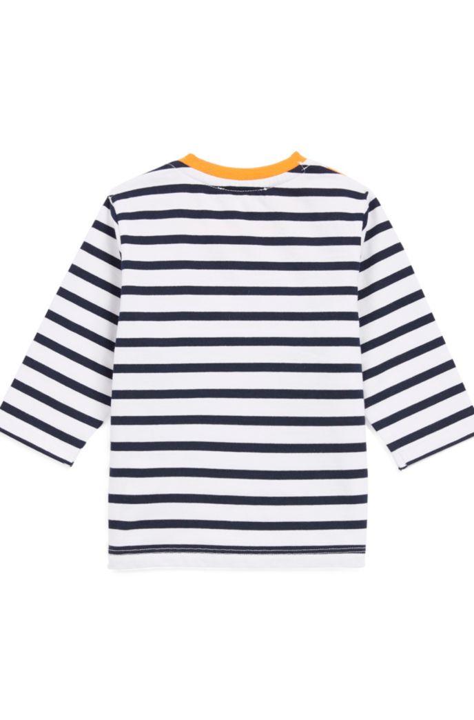 Kids-Longsleeve aus Single Jersey mit maritimen Streifen und Logo-Balken