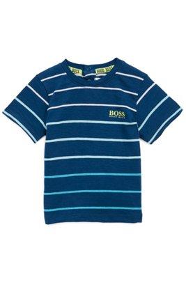 T-shirt pour enfant à logo en coton mélangé à rayures, Fantaisie