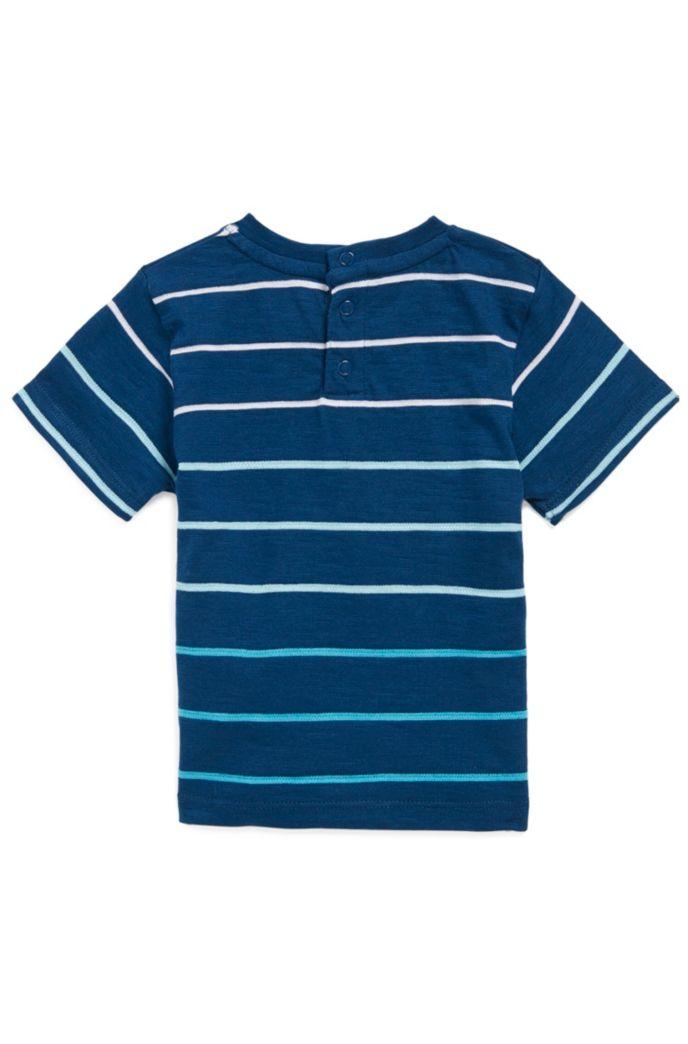 Kinder-T-shirt van een gestreepte katoenmix met logo