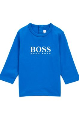 T-shirt pour enfant à manches longues en coton avec logo imprimé, Bleu