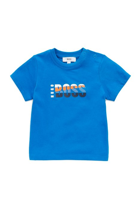 Kids' cotton T-shirt with colourful logo print, Blue