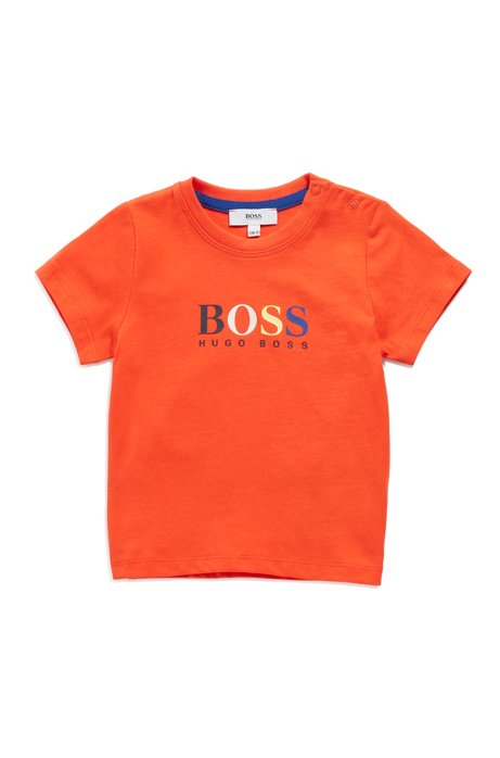 Kids' cotton T-shirt with rubberised logo print, Orange