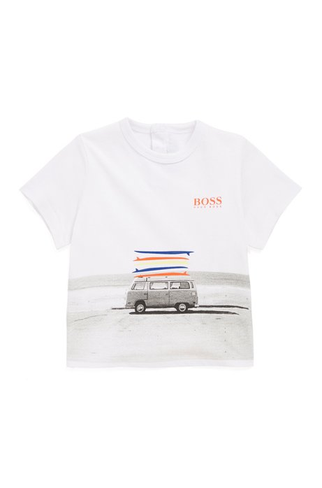 Kids' T-shirt in pure cotton with campervan artwork, White