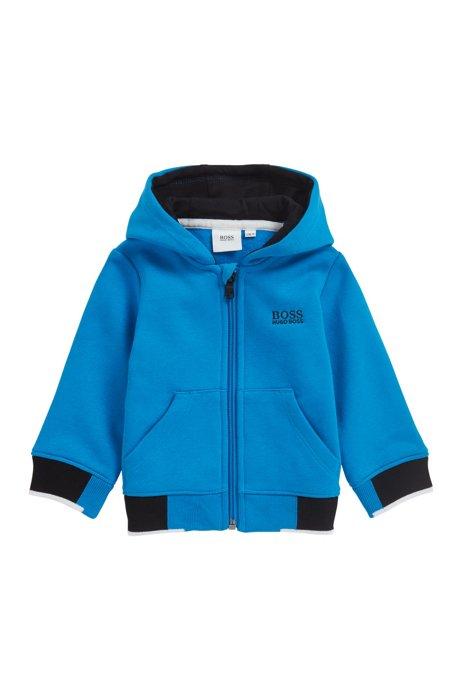 Kids' zip-through fleece sweatshirt with logo hood, Blue