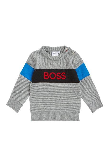 Pull logo pour enfant en maille de coton et de laine, Gris chiné